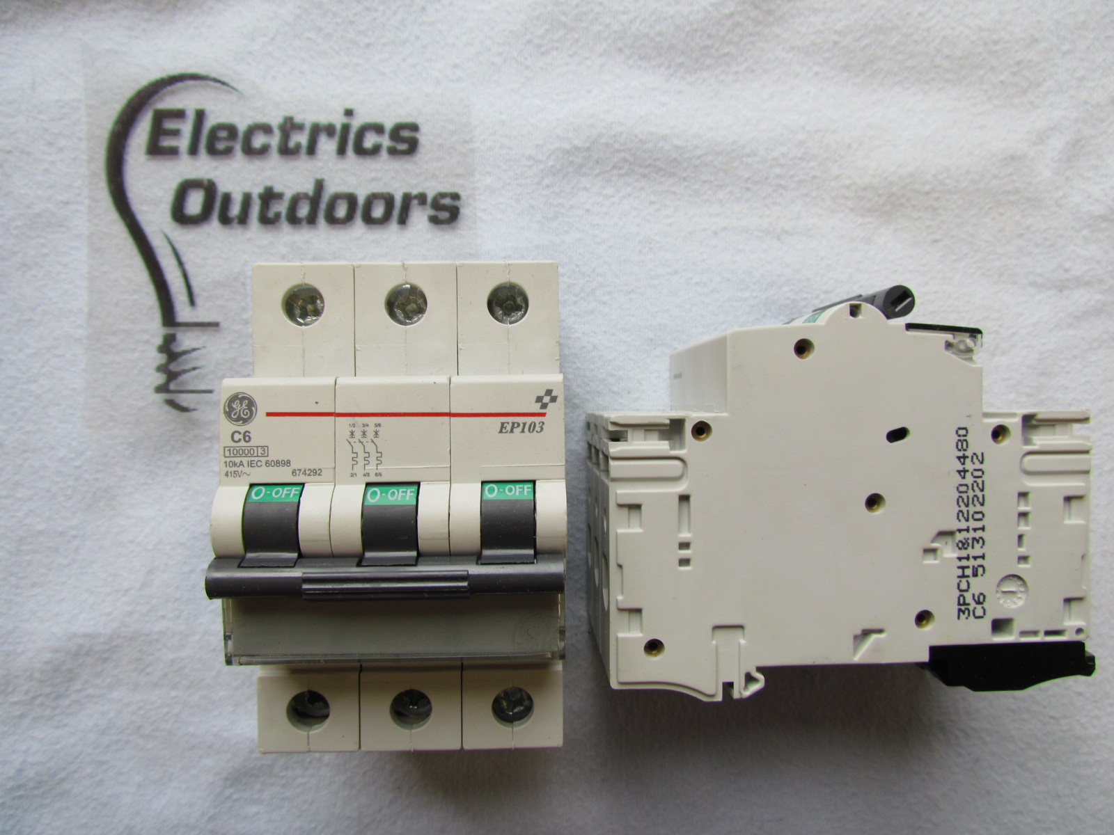 GENERAL ELECTRIC 6 AMP TYPE C TRIPLE POLE MCB CIRCUIT BREAKER EP103 674292 A