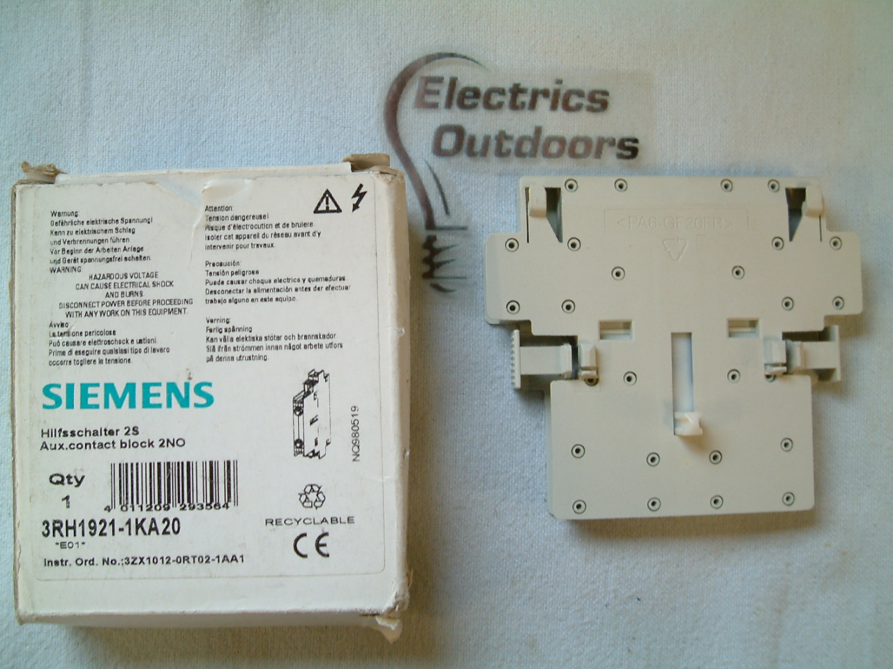 SIEMENS AUXILIARY CONTACT BLOCK 2 NO 3RH1921-1KA20 AUX