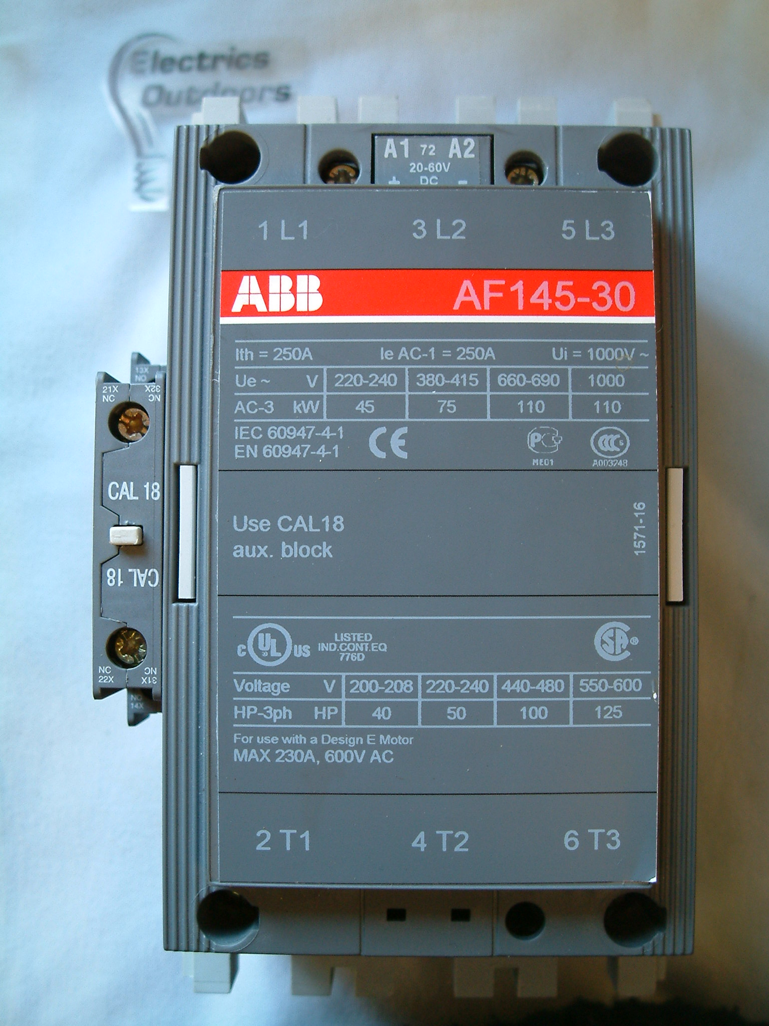 ABB 250 AMP CONTACTOR AF145-30 THREE PHASE POLE A 3
