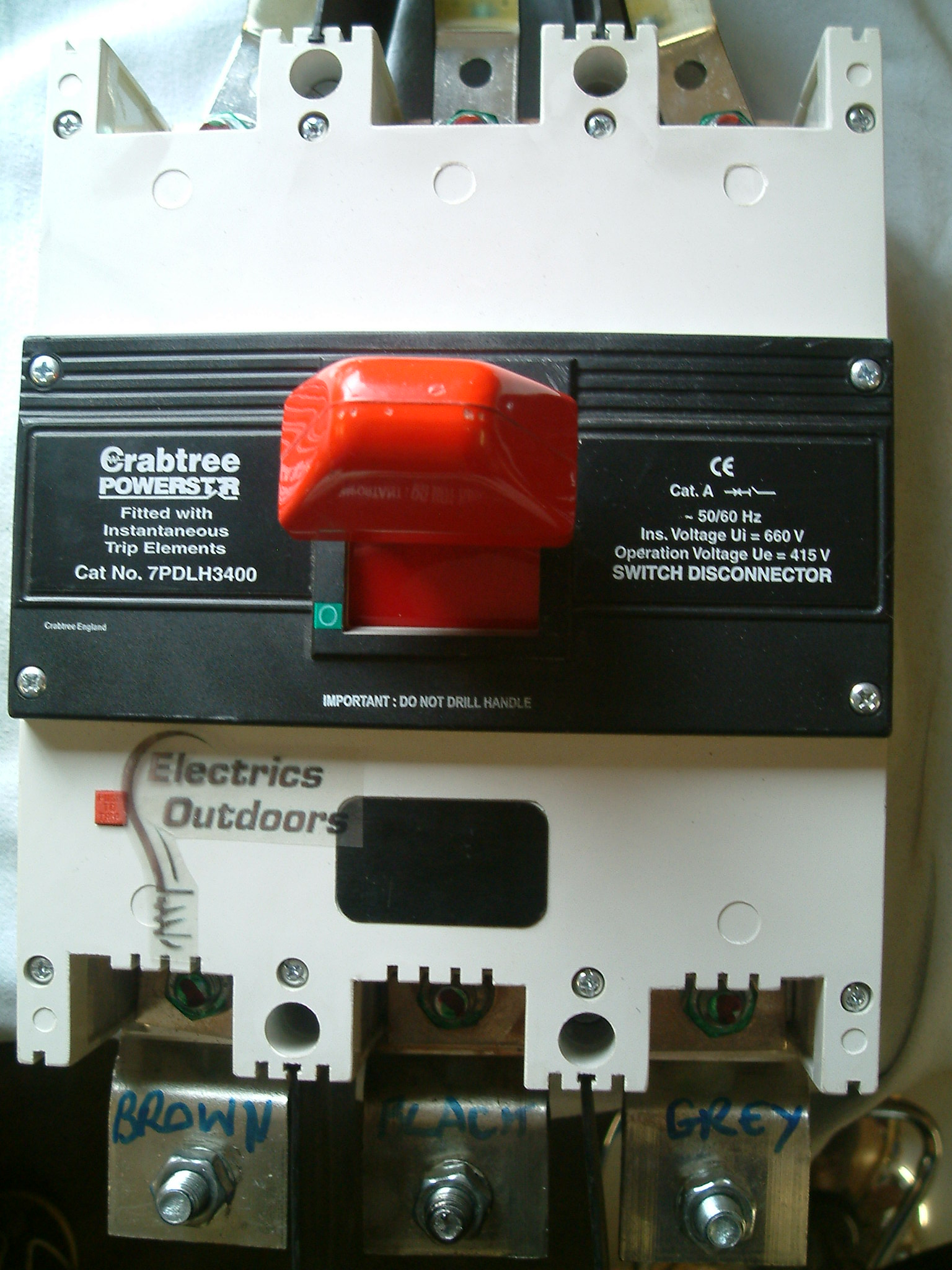 CRABTREE POWERSTAR 400 AMP 415 V MCCB 7PDLH3400 SWITCH DISCONNEC