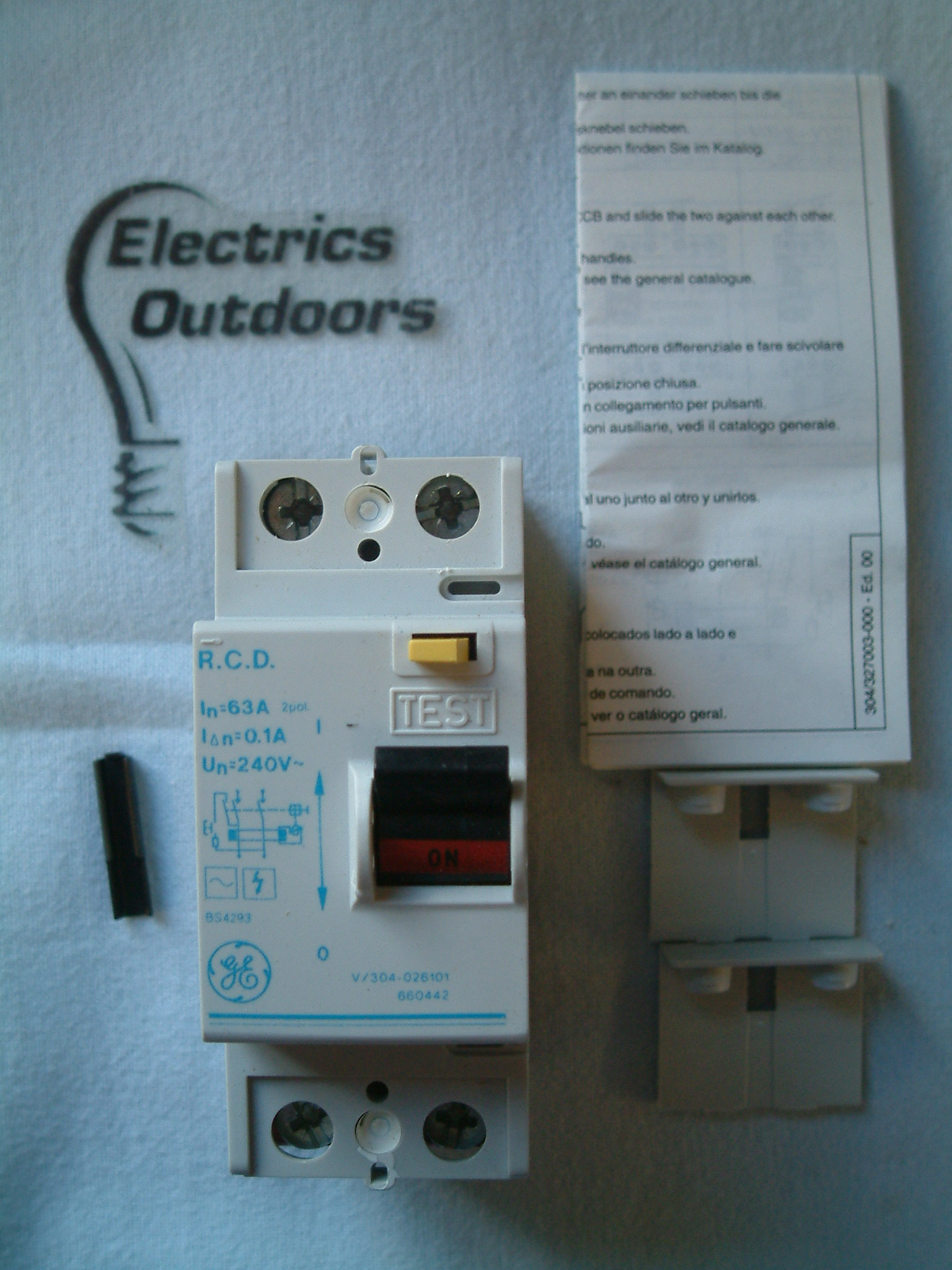 GENERAL ELECTRIC 63 AMP 100 mA RCCB RCD DOUBLE POLE 240 V 660442