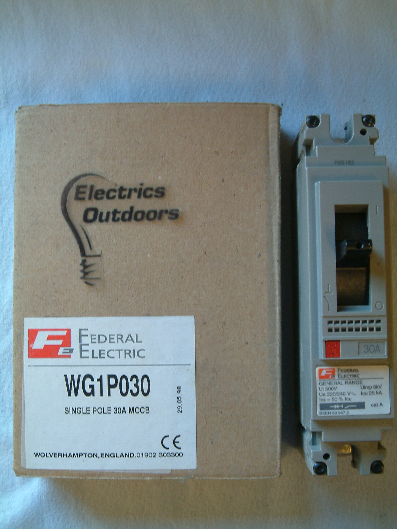 FEDERAL ELECTRIC 30 AMP 25 kA MCCB 220/240V WG1P030 GENERAL RANGE BS EN 60947