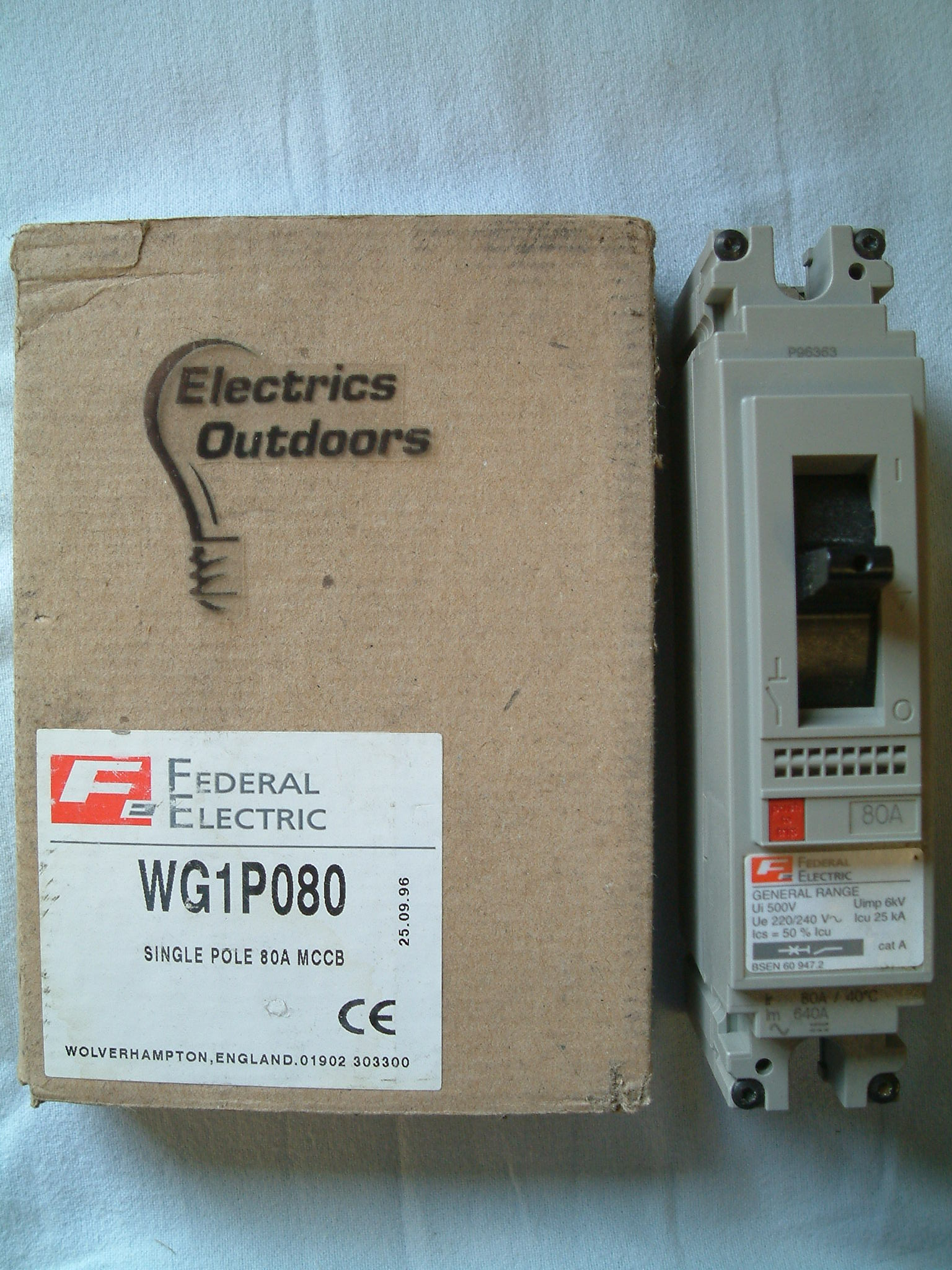 FEDERAL ELECTRIC 80 AMP 25 kA MCCB 220/240V WG1P080 GENERAL RANG