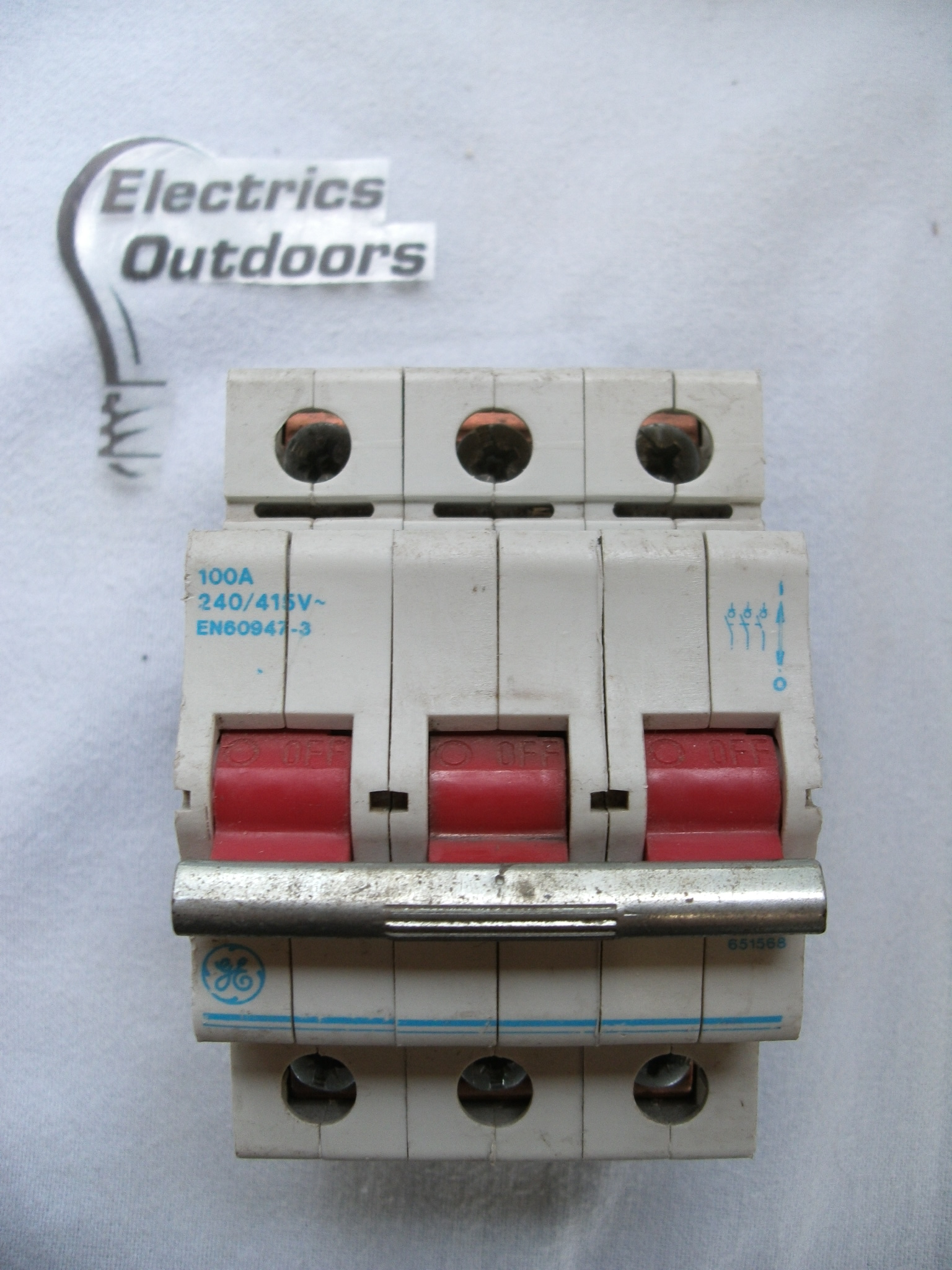 GENERAL ELECTRIC 100 AMP TRIPLE POLE MAIN SWITCH 651568 V/333-039039 ...