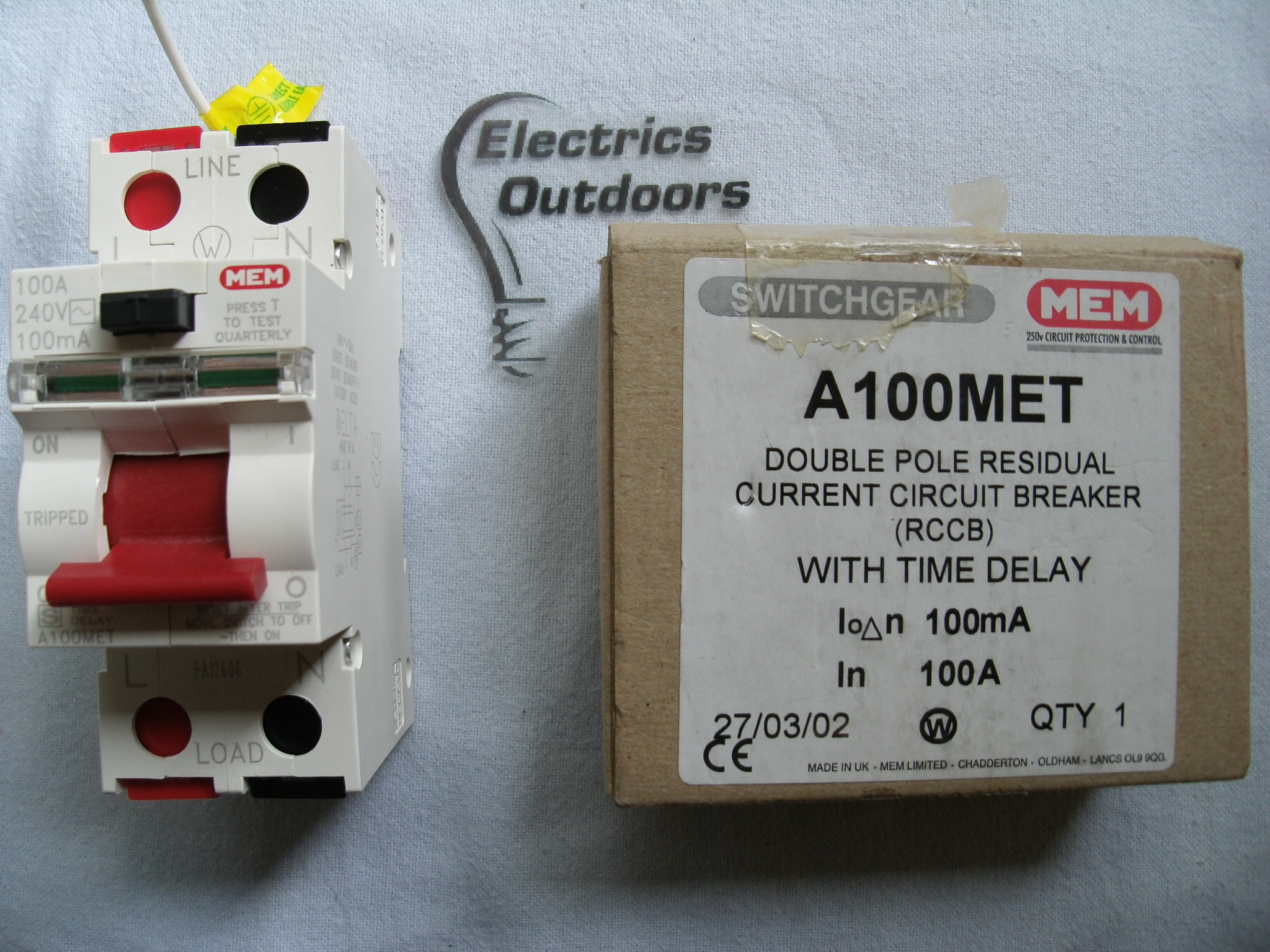 MEM 100 AMP 100 mA DOUBLE POLE RCCB RCD TIME DELAY 240V A100MET