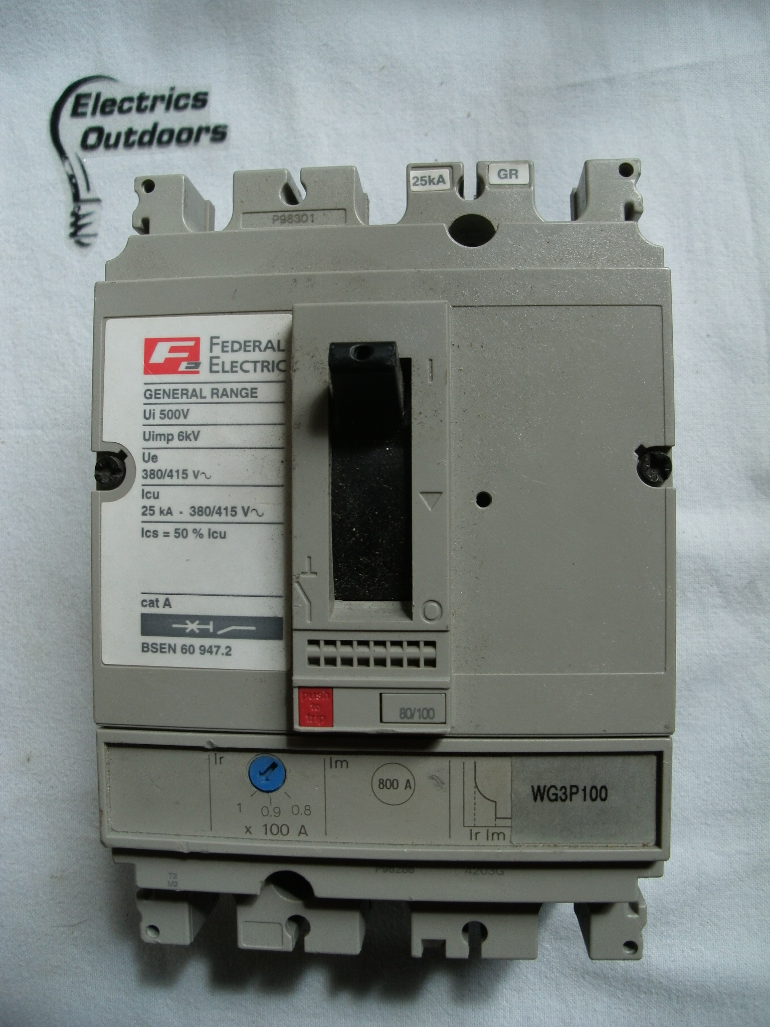 FEDERAL ELECTRIC 100 AMP 25 kA TRIPLE POLE MCCB 380V 415V WG3P100 SB EN 60947