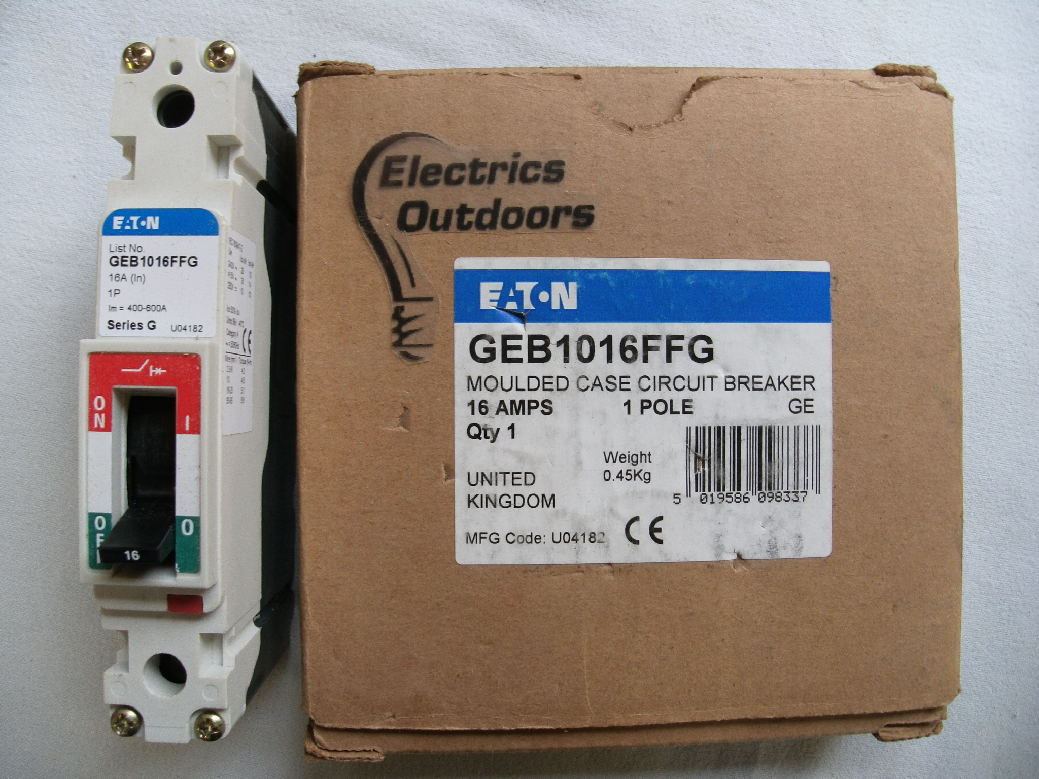 EATON 16 AMP 25 kA SERIES G MCCB SINGLE POLE 240V GEB1016FFG U04182 NO SCREWS