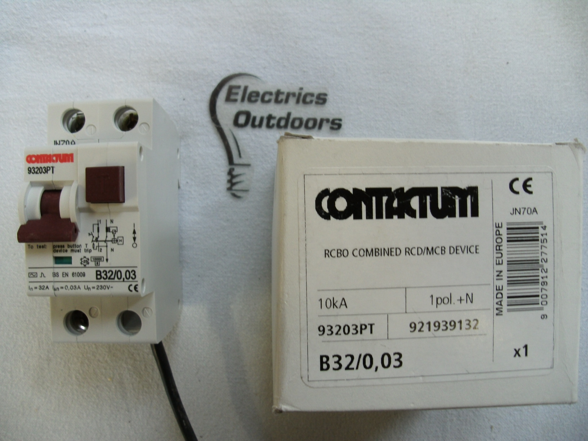 CONTACTUM 32 AMP TYPE B 30 mA DOUBLE POLE RCBO RCD MCB 93203PT B32/0.03 F&G 2 A
