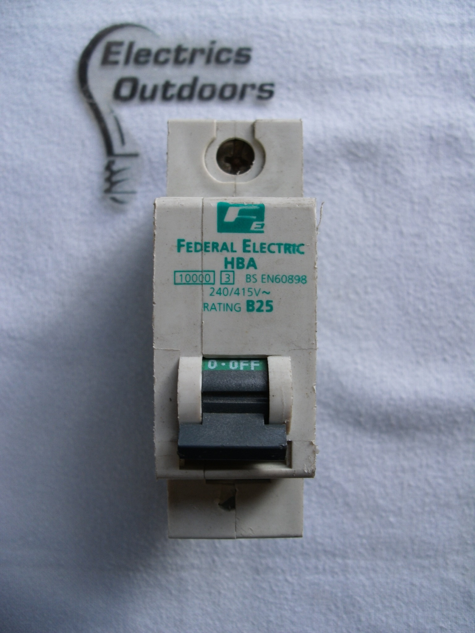 FEDERAL ELECTRIC 25 AMP TYPE B 10 kA MCB CIRCUIT BREAKER HBA STABLOK BS EN 60898