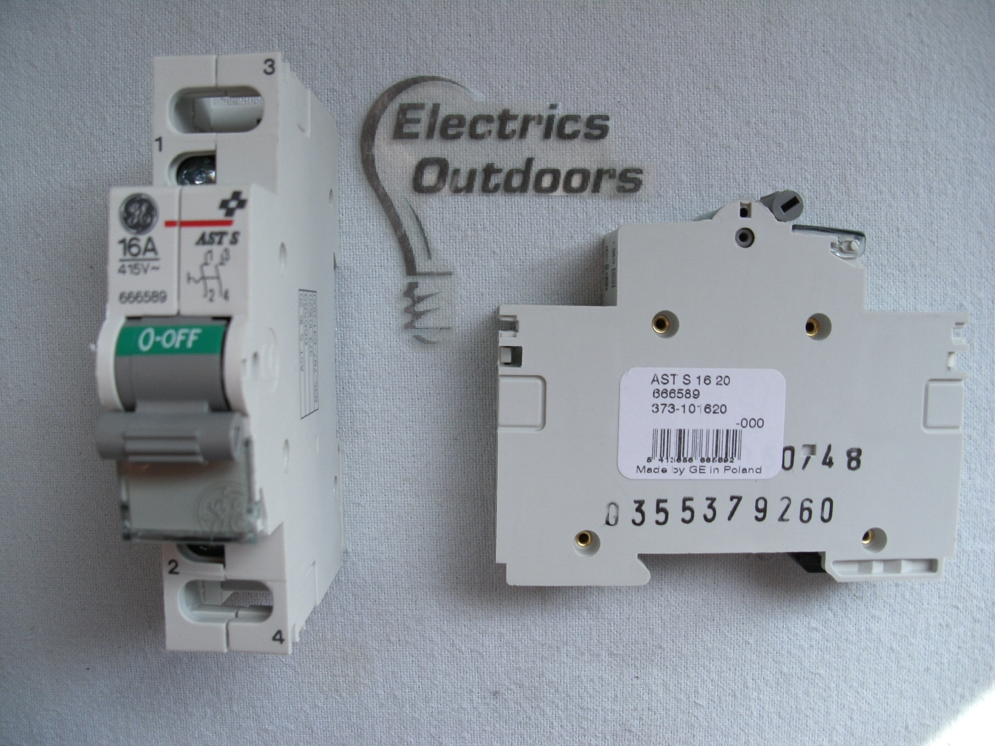 GENERAL ELECTRIC 16 AMP DOUBLE POLE MODULAR SWITCH ASTER AST S 16 20 666589