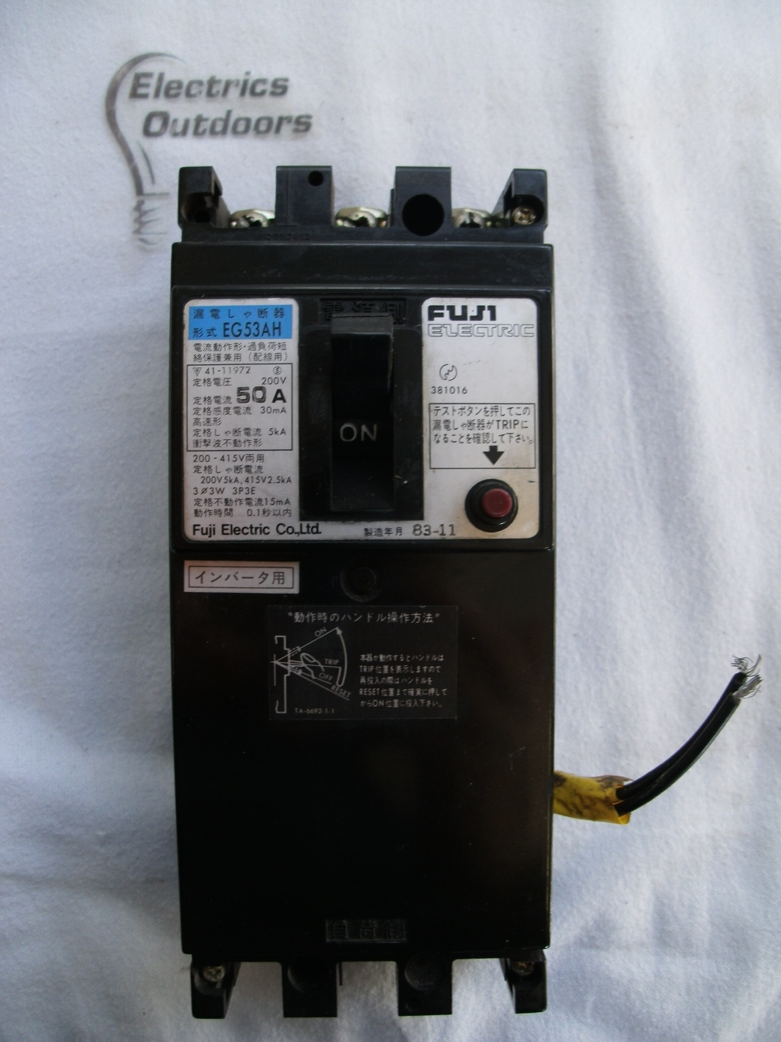 FUJI ELECTRIC 50 AMP 5 kA 30 mA TRIPLE POLE CIRCUIT BREAKER EG53AH 83-11 381016
