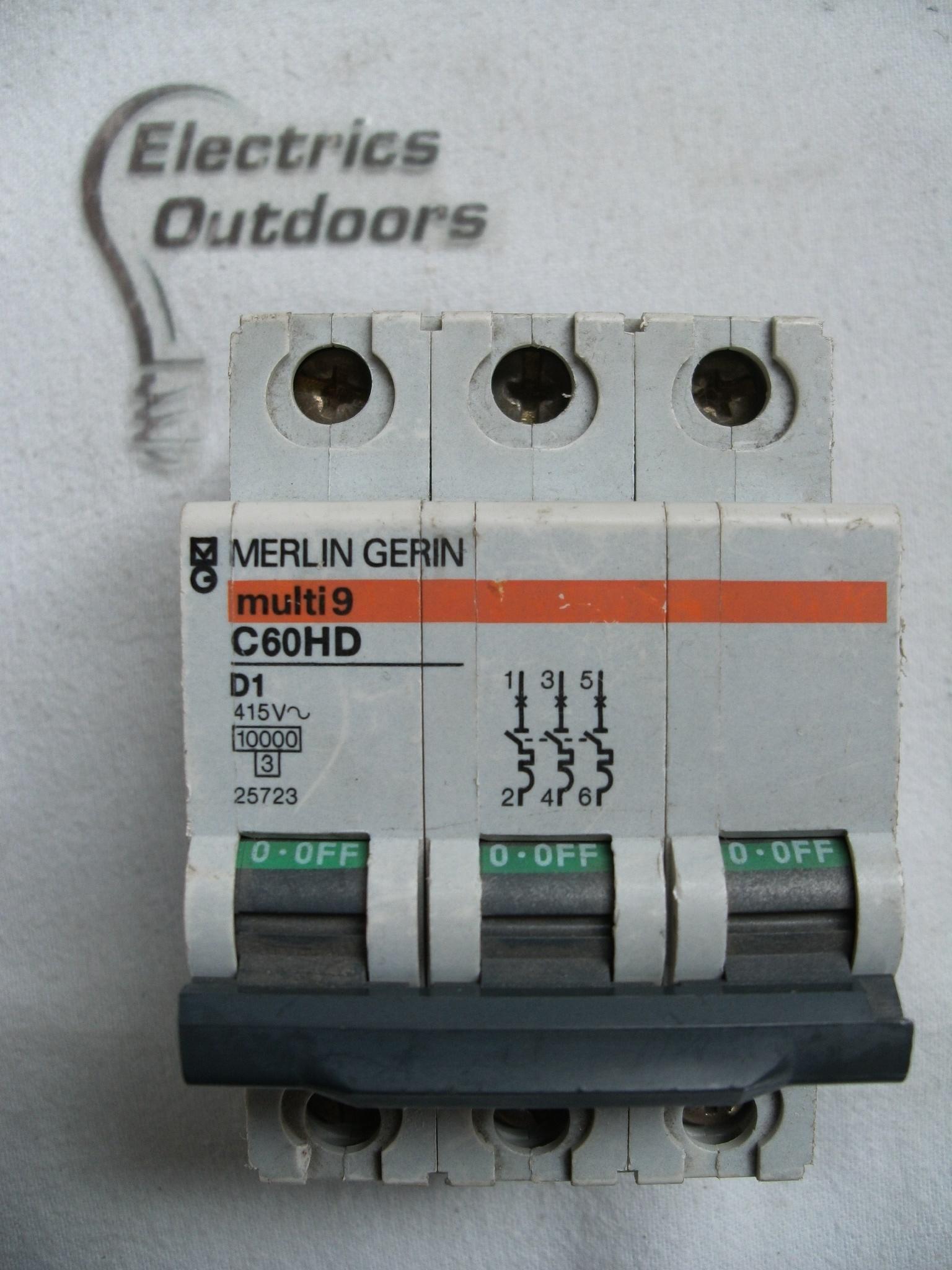 MERLIN GERIN 1 AMP TYPE D 10 kA TRIPLE POLE MCB CIRCUIT BREAKER C60HD 25723 3