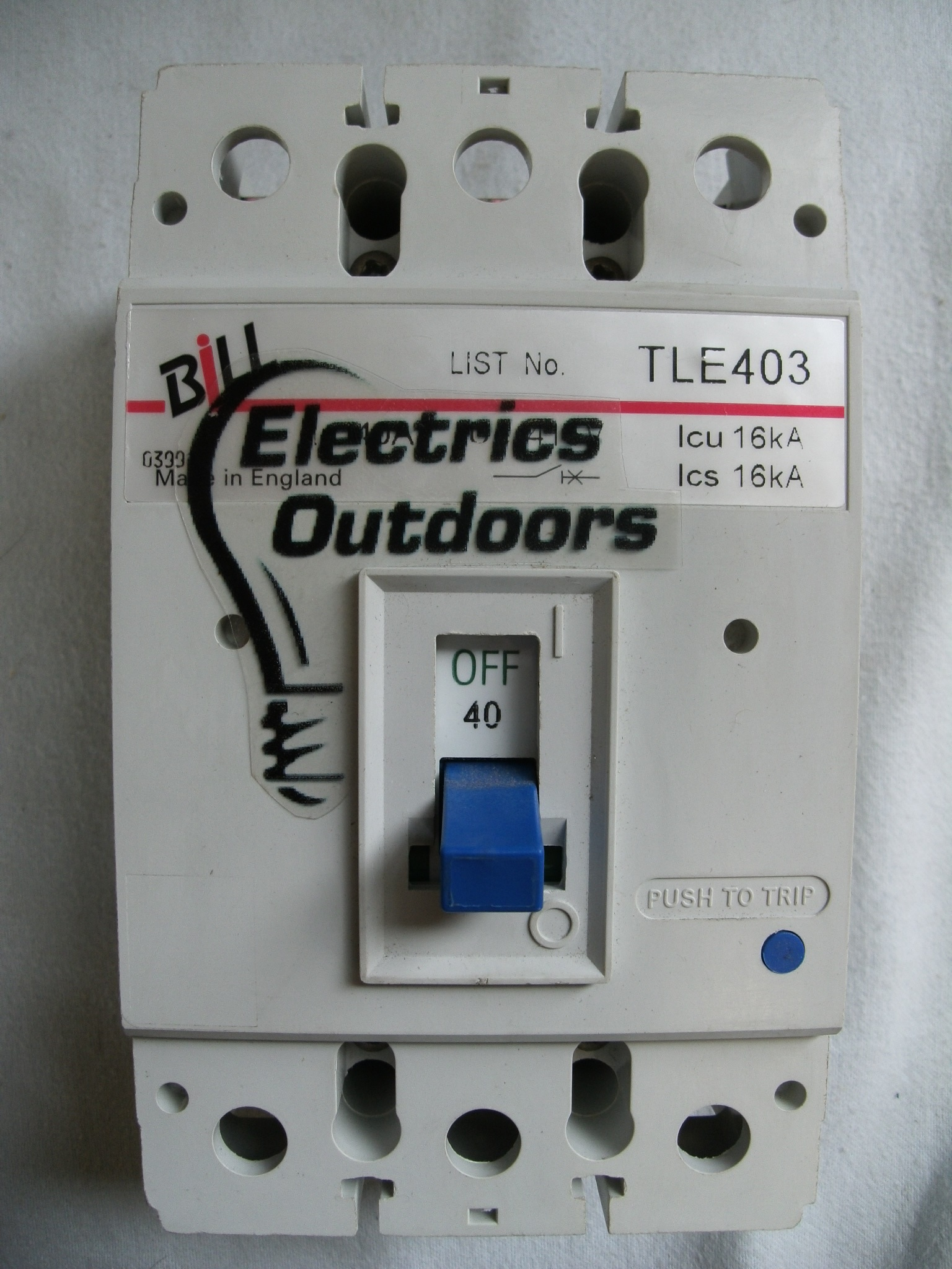 BILL 40 AMP 16 kA TRIPLE POLE MCCB 415V TLE403 BS EN 60947
