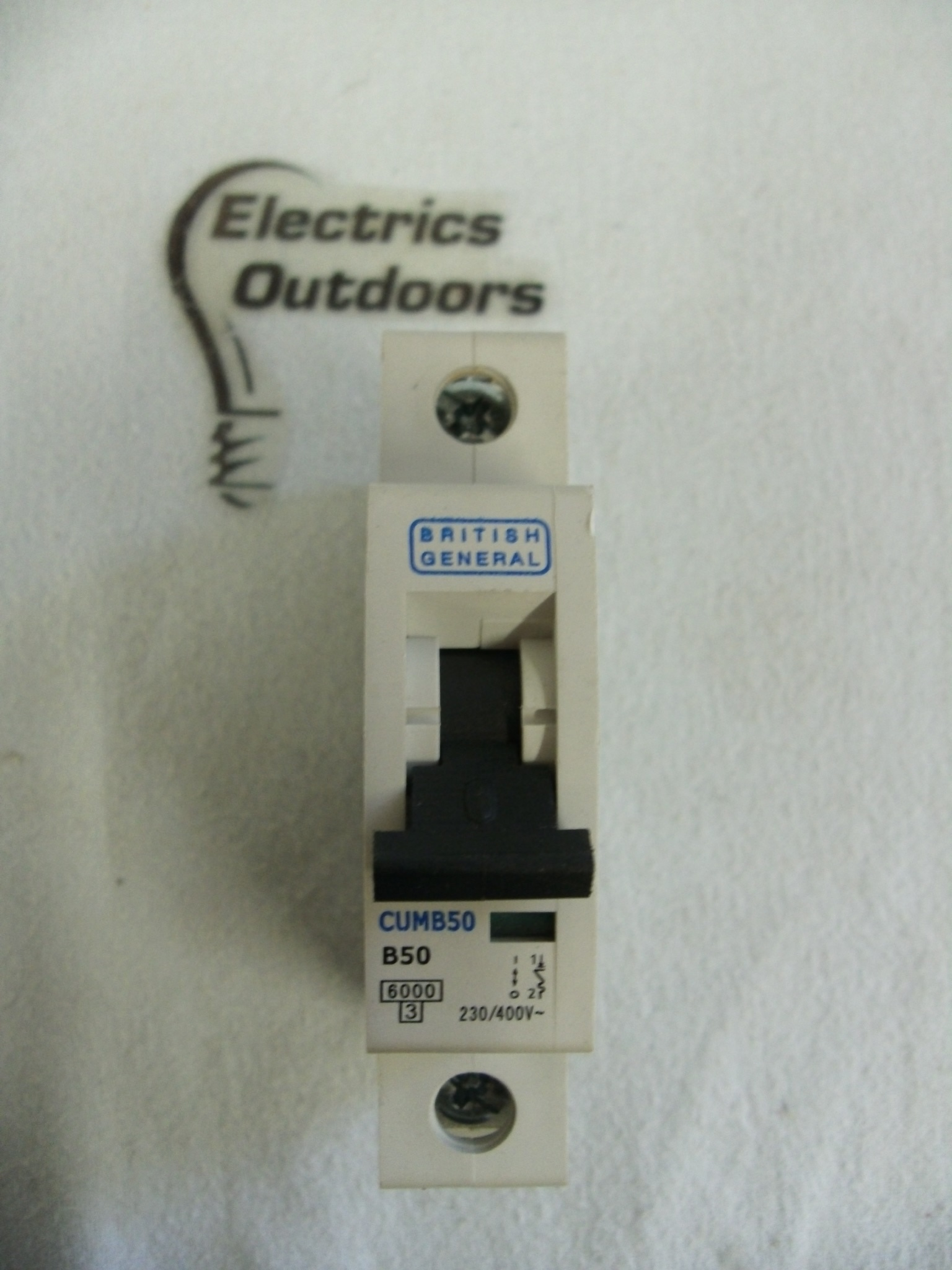 BRITISH GENERAL 50 AMP TYPE B 6 kA MCB CIRCUIT BREAKER 230V CUMB50 BS EN 60898