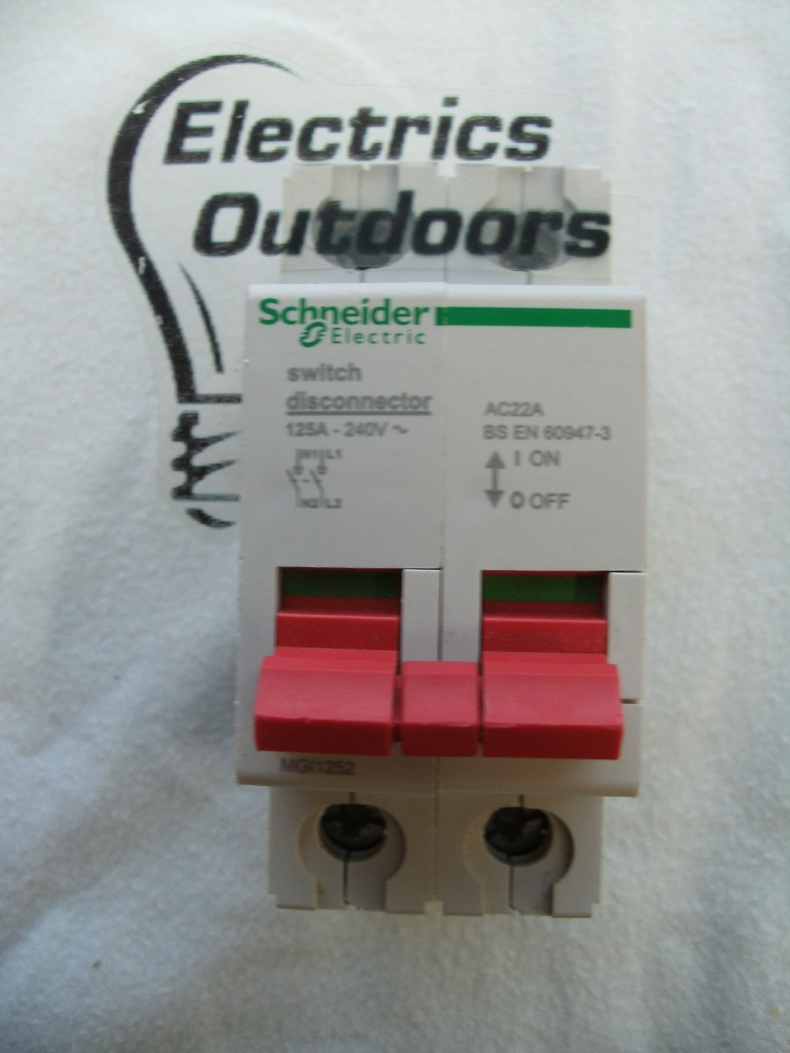 SCHNEIDER ELECTRIC 125 AMP DOUBLE POLE SWITCH DISCONNECTOR MGI1252 BS EN 60947