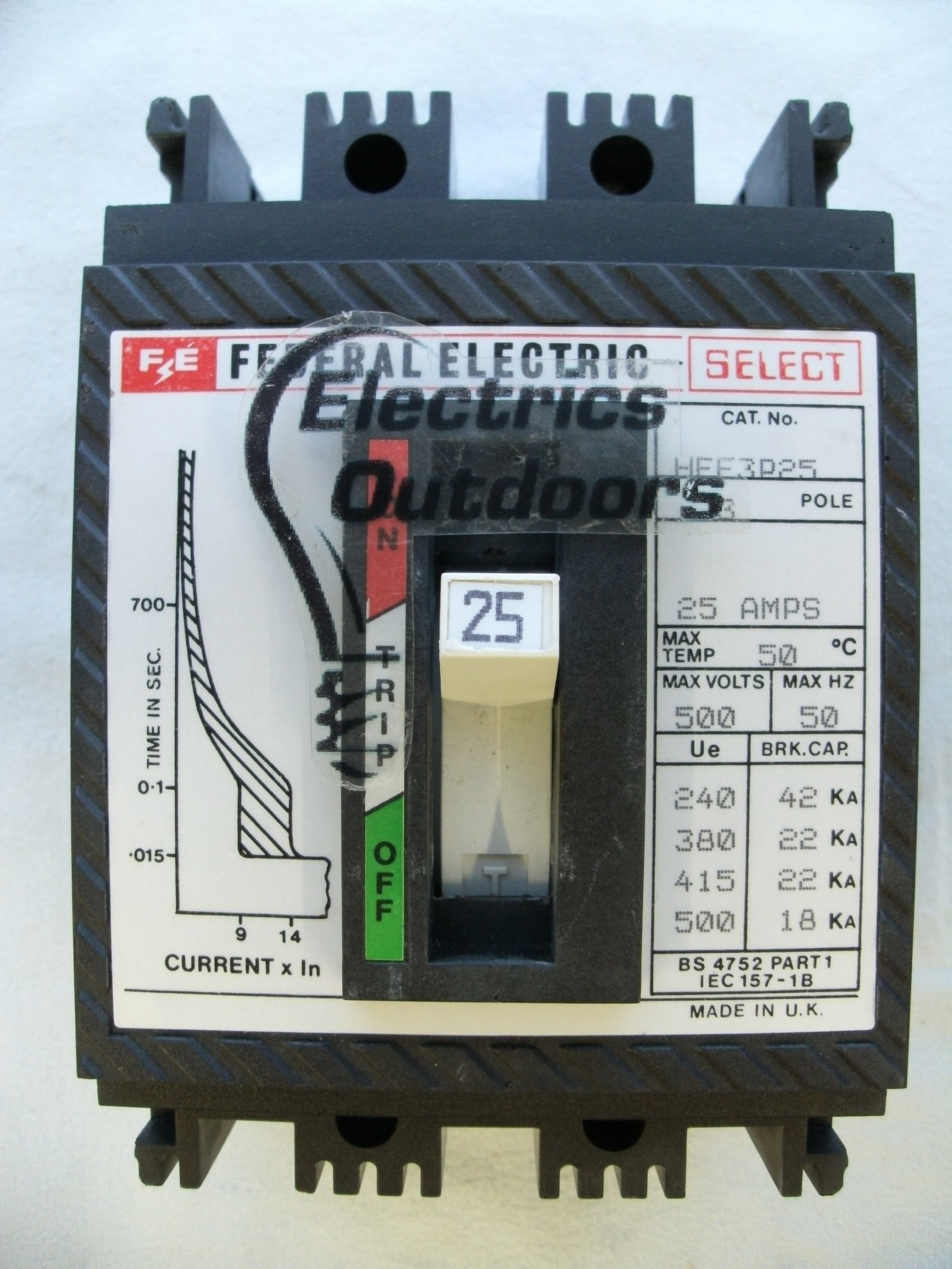 FEDERAL ELECTRIC 25 AMP 22 kA TRIPLE POLE MCCB SELECT HEF3P25