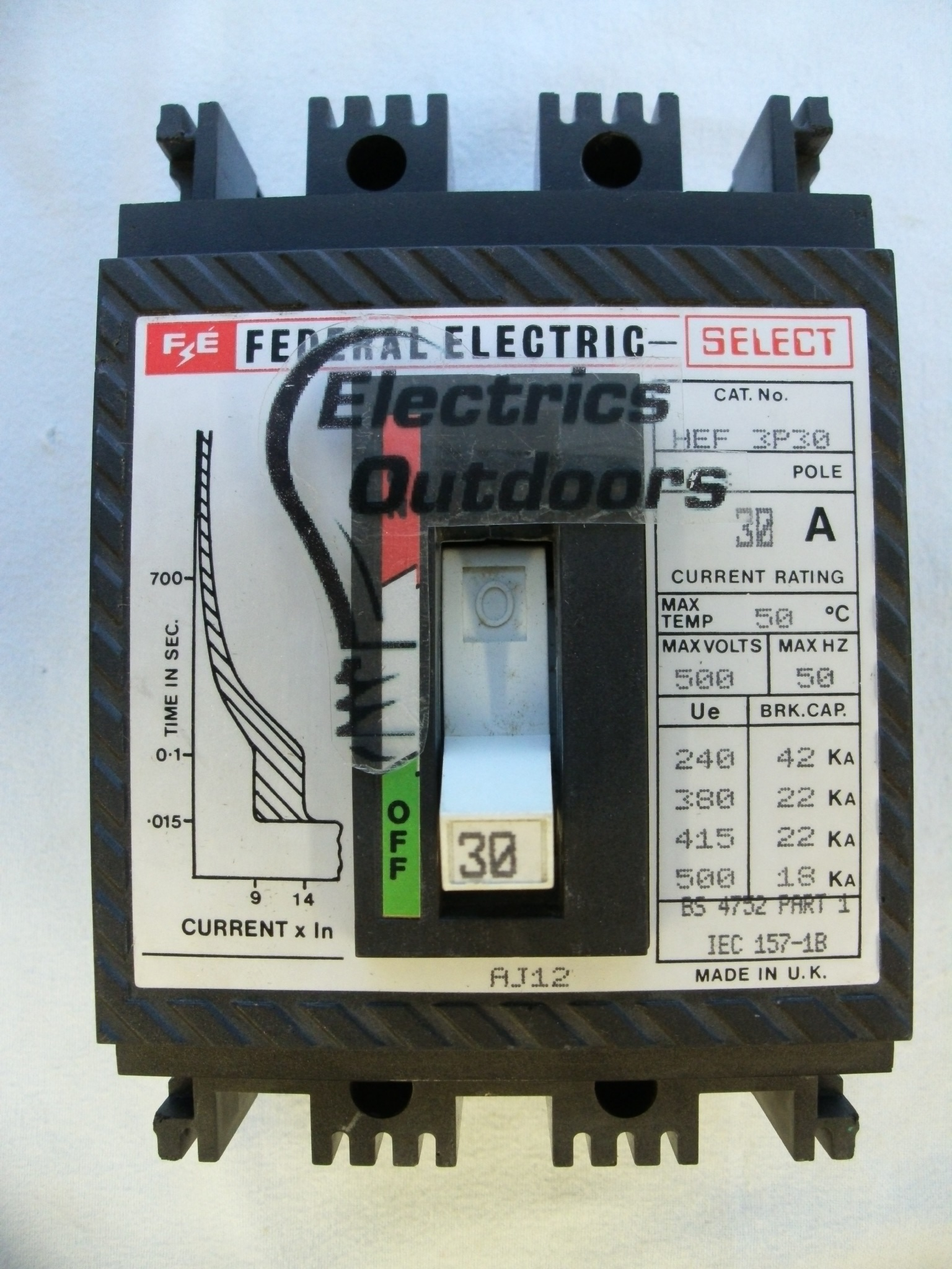 FEDERAL ELECTRIC 30 AMP 22 kA TRIPLE POLE MCCB SELECT HEF 3P30