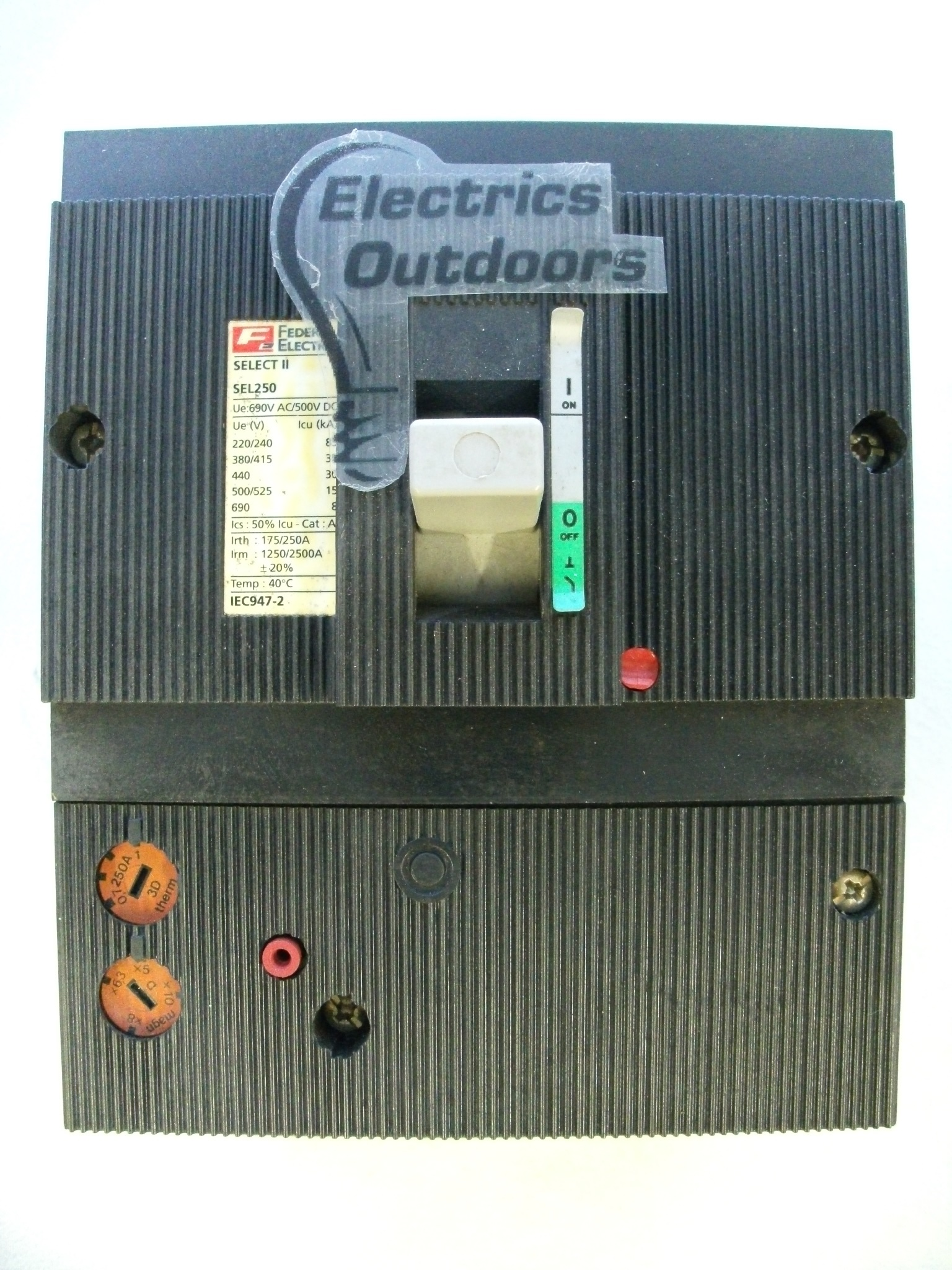 FEDERAL ELECTRIC 250 AMP 35 kA TRIPLE POLE MCCB SELECT II SEL2503P3D250A