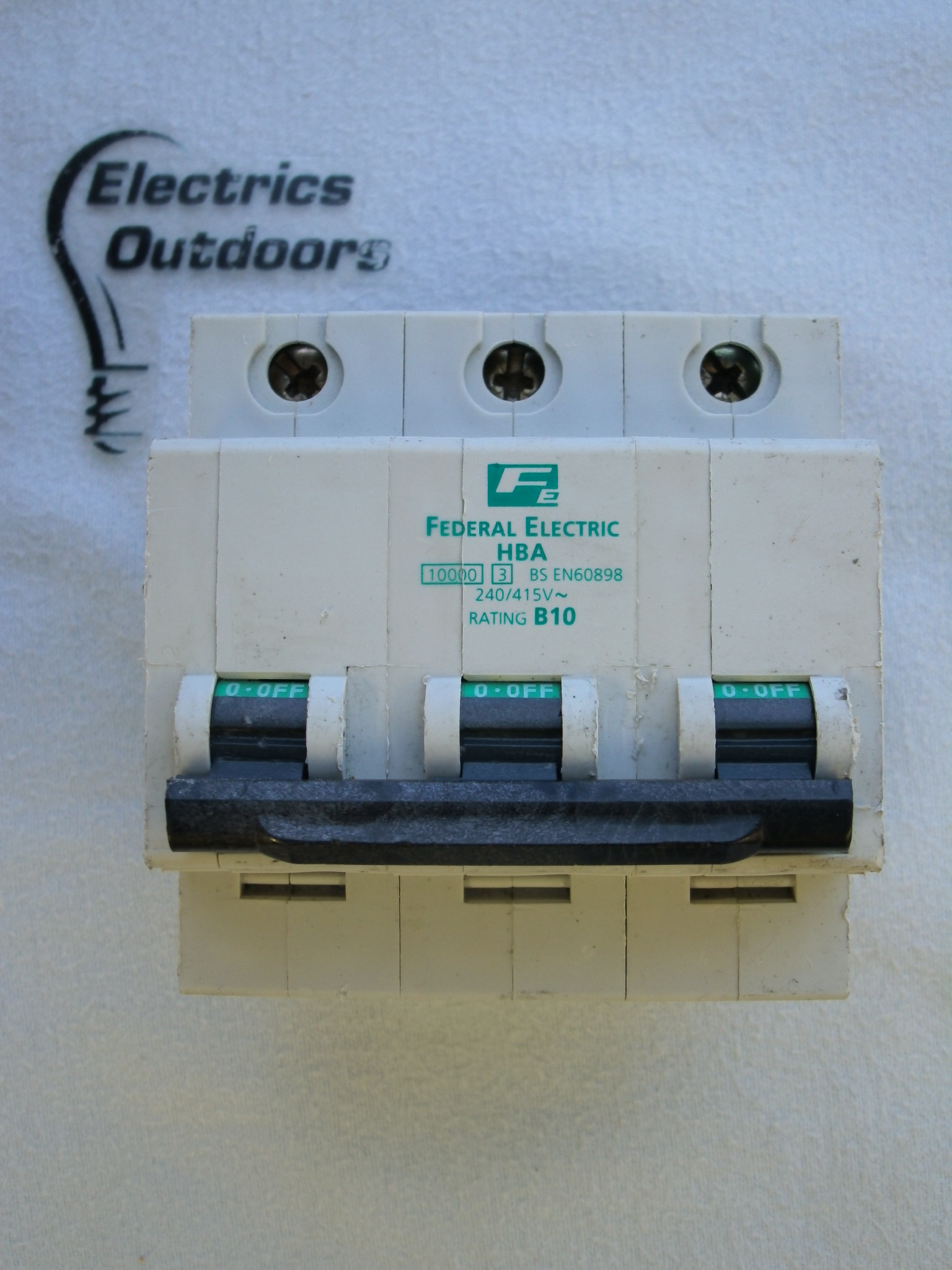FEDERAL ELECTRIC 10 AMP TYPE B 10 kA TRIPLE POLE MCB CIRCUIT BREAKER HBA STABLOK