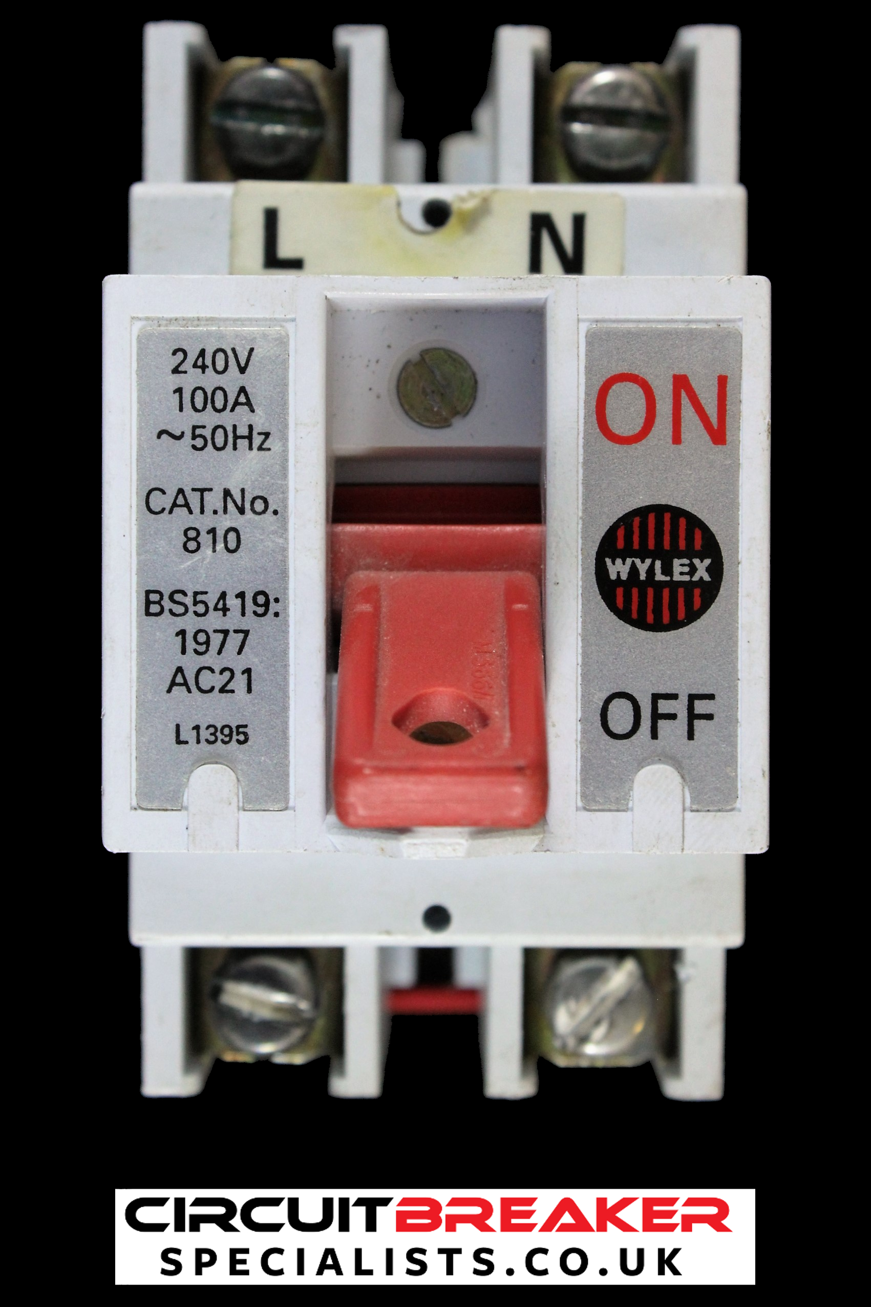 WYLEX 100 AMP DOUBLE POLE MAIN SWITCH DISCONNECTOR CAT No 810 AC21