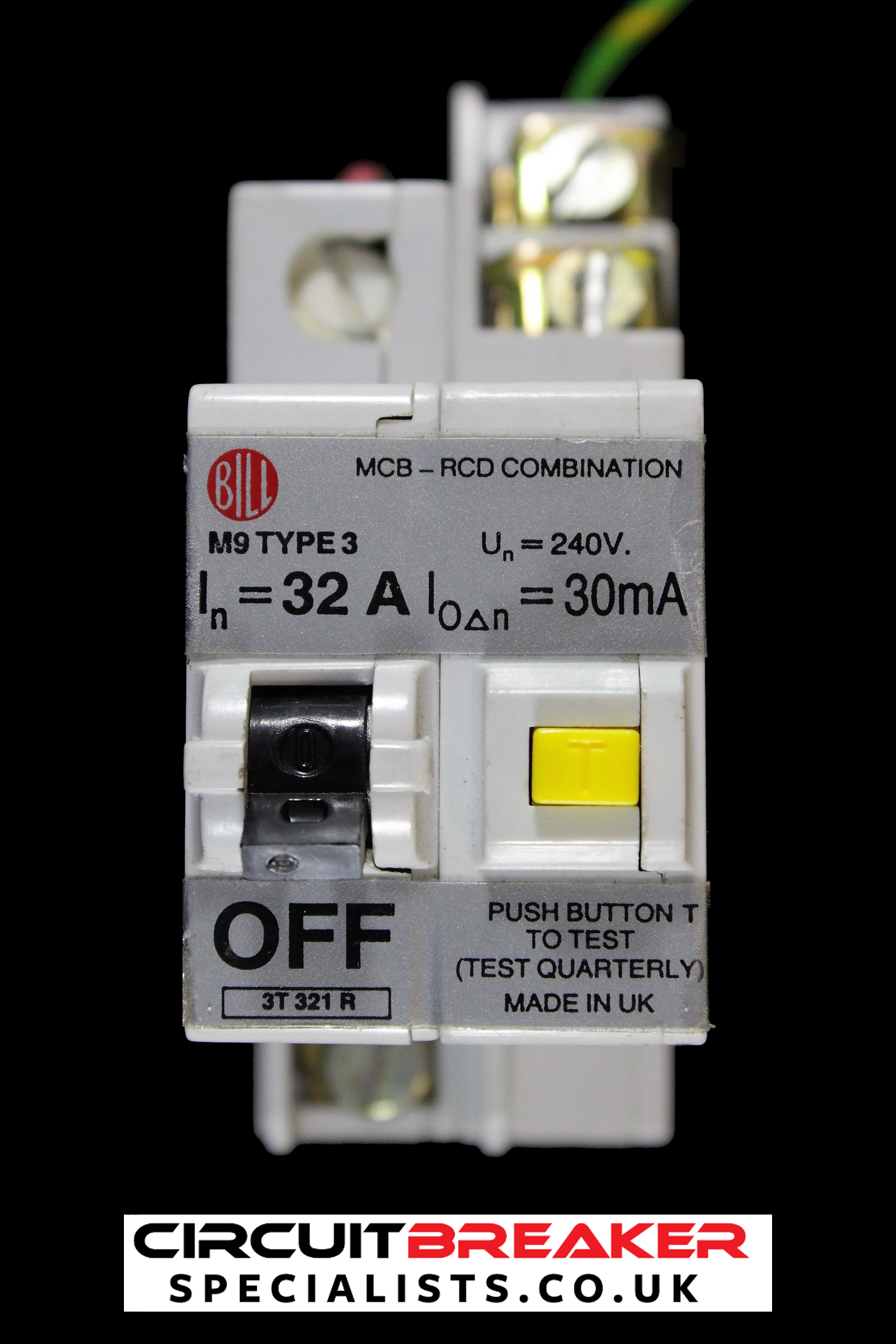 BILL 32 AMP TYPE 3 M9 30 mA DOUBLE POLE RCBO MCB RCD 3T321R