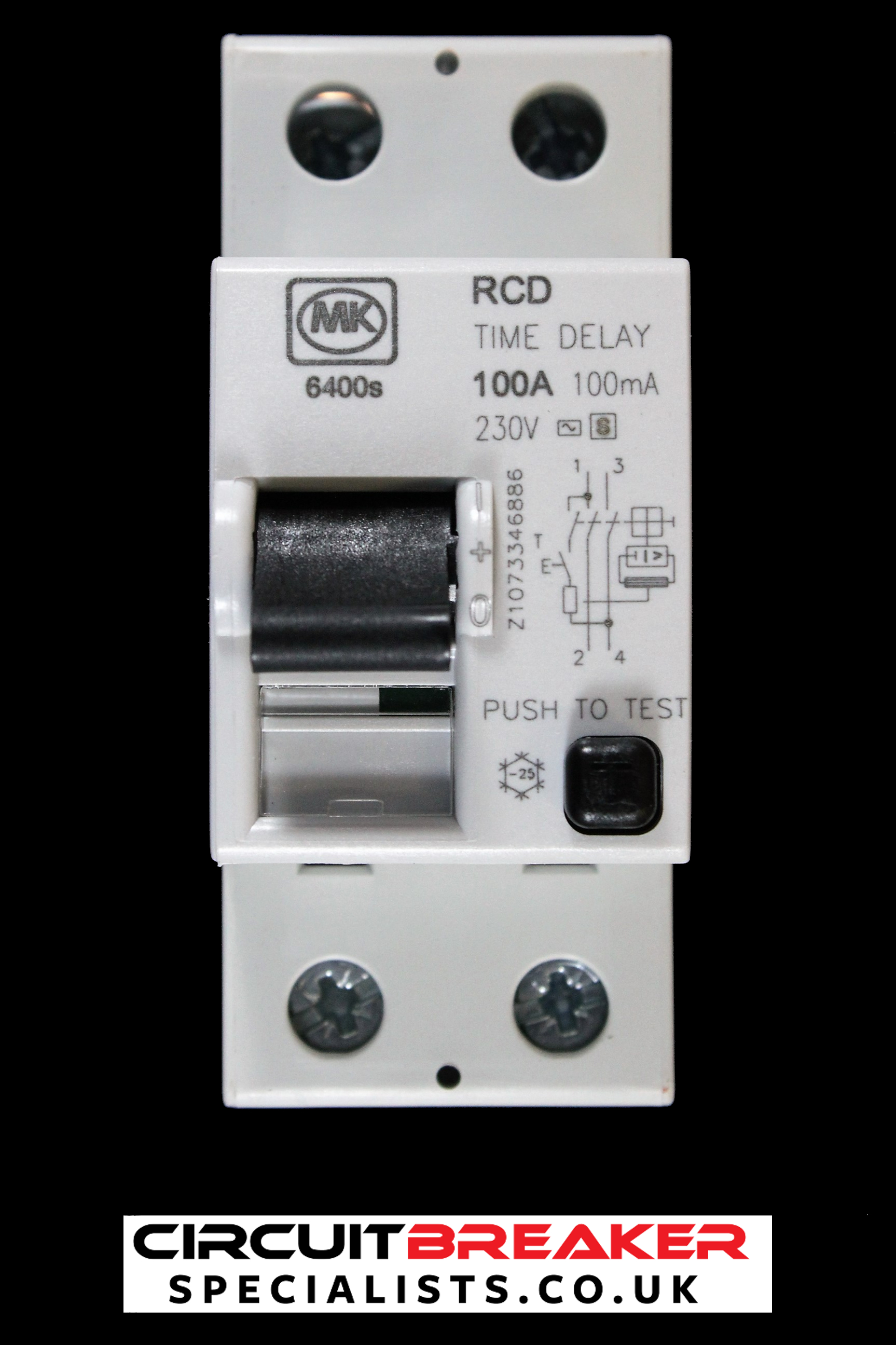 MK 100 AMP 100 mA DOUBLE POLE TIME DELAY RCD 6400S SENTRY