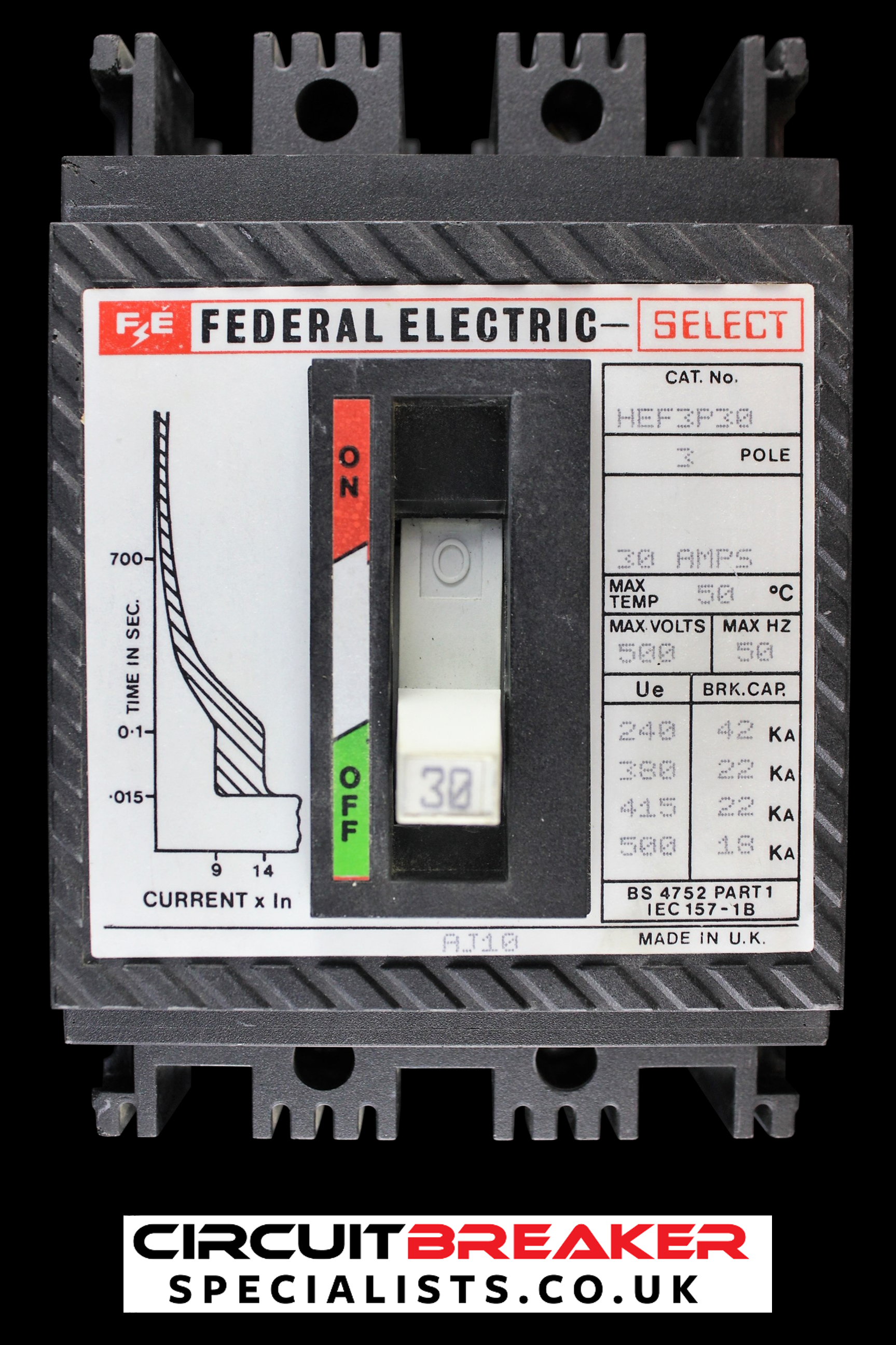 FEDERAL ELECTRIC 30 AMP 22 kA TRIPLE POLE MCCB HEF3P30 SELECT
