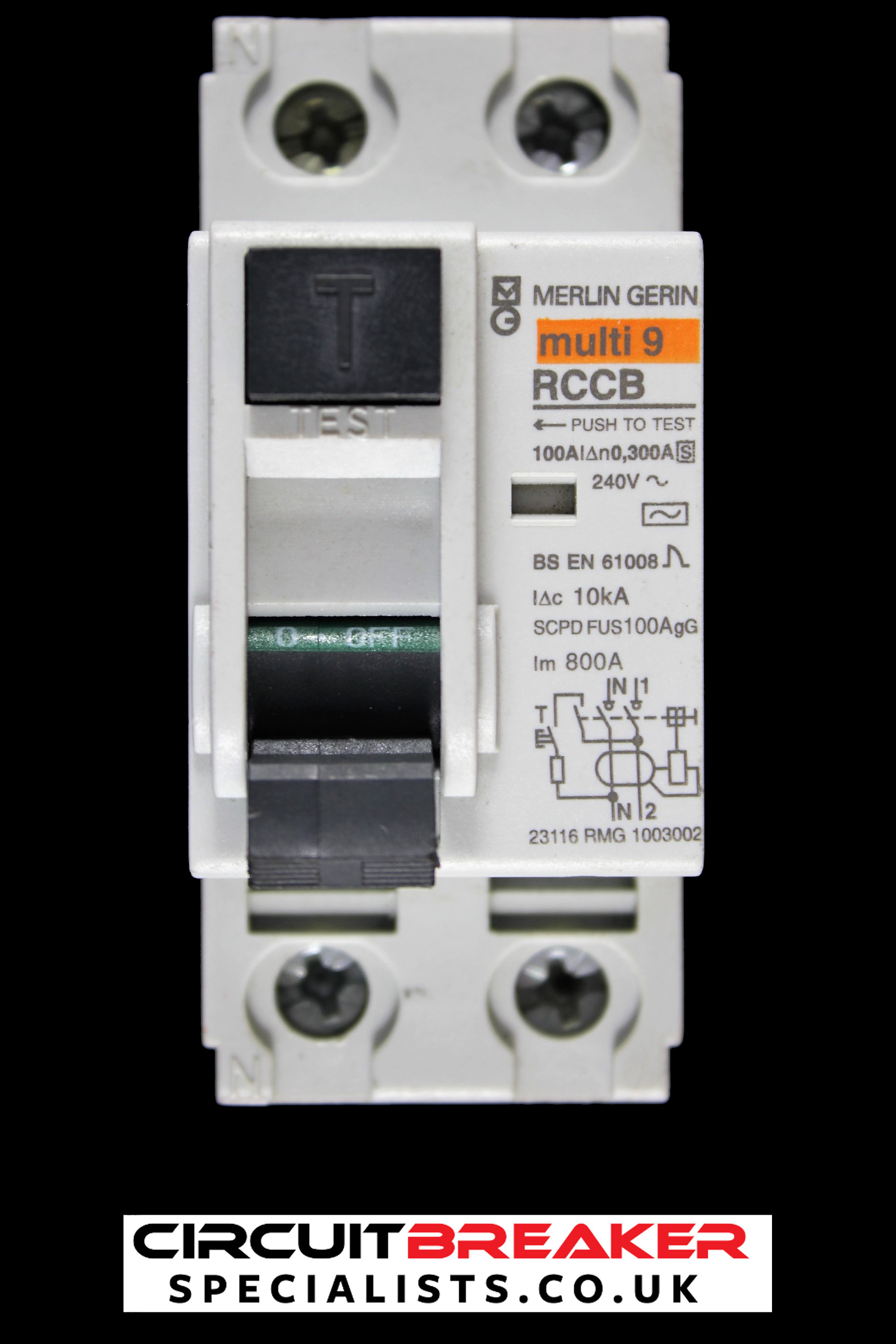 MERLIN GERIN 100 AMP 10kA 300mA TIME DELAYED DOUBLE POLE RCCB 23116 RMG 1003002