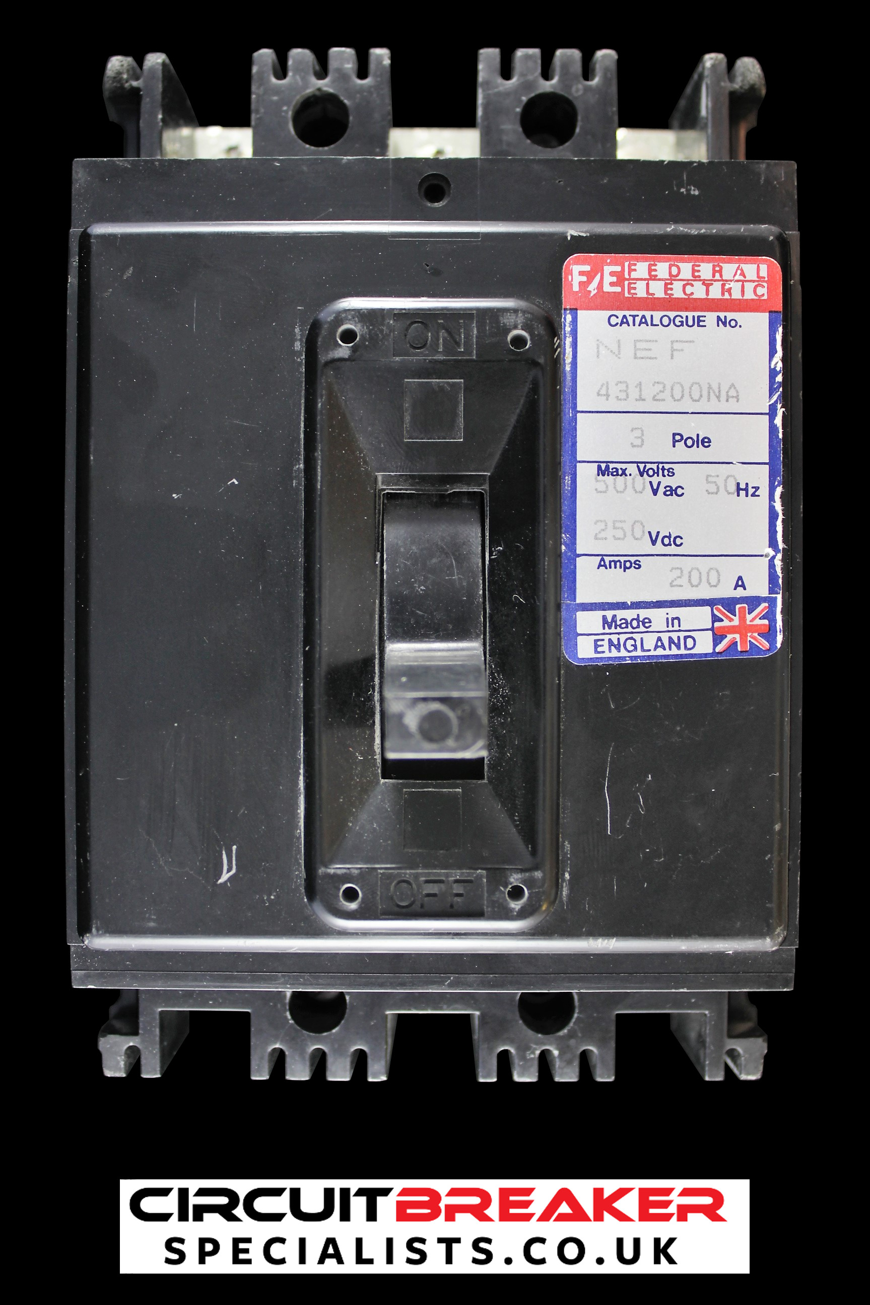 FEDERAL ELECTRIC 200 AMP TRIPLE POLE MCCB NEF 431200NA