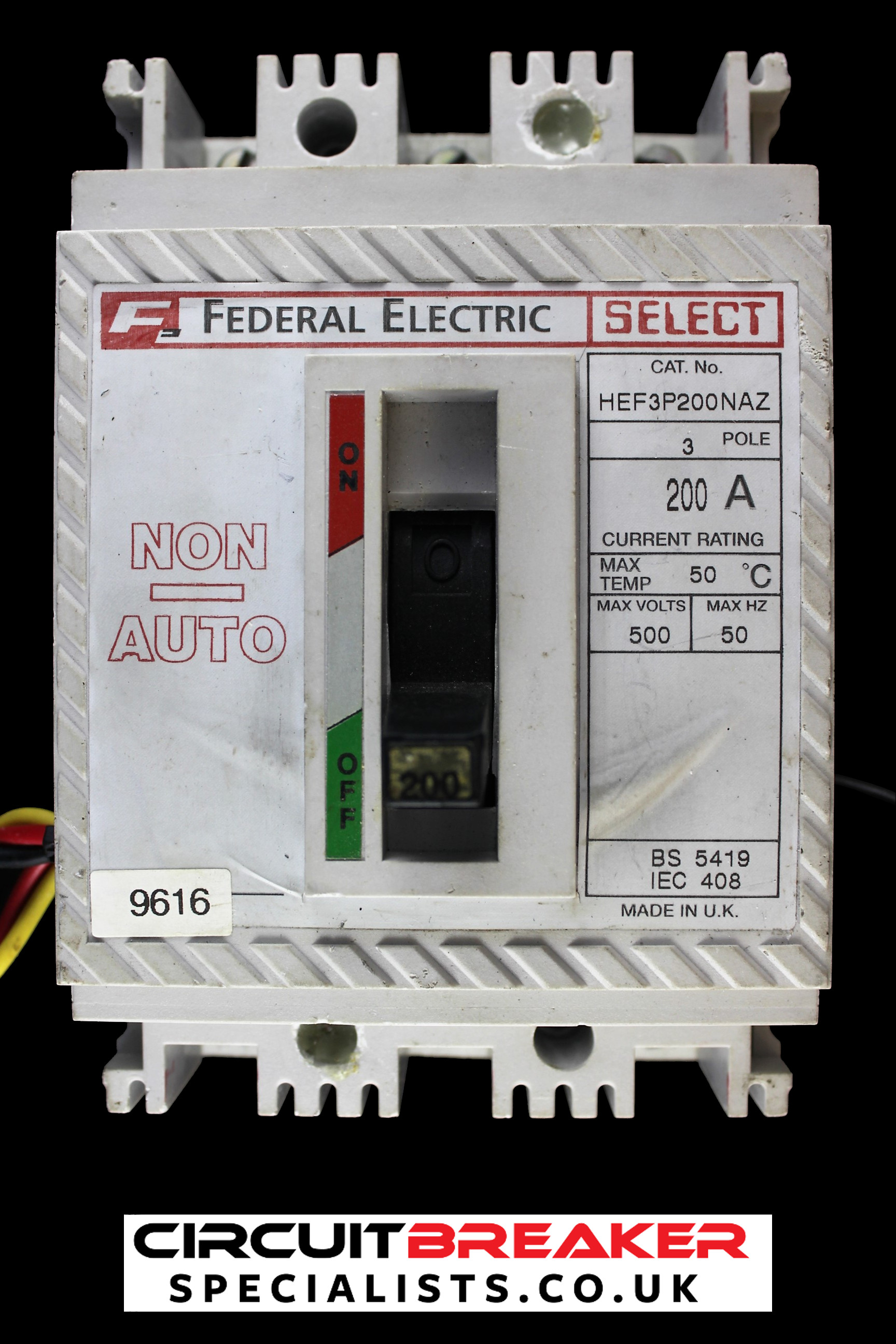 FEDERAL ELECTRIC 200 AMP TRIPLE POLE MCCB SHUNT TRIP HEF 3P200NAZ