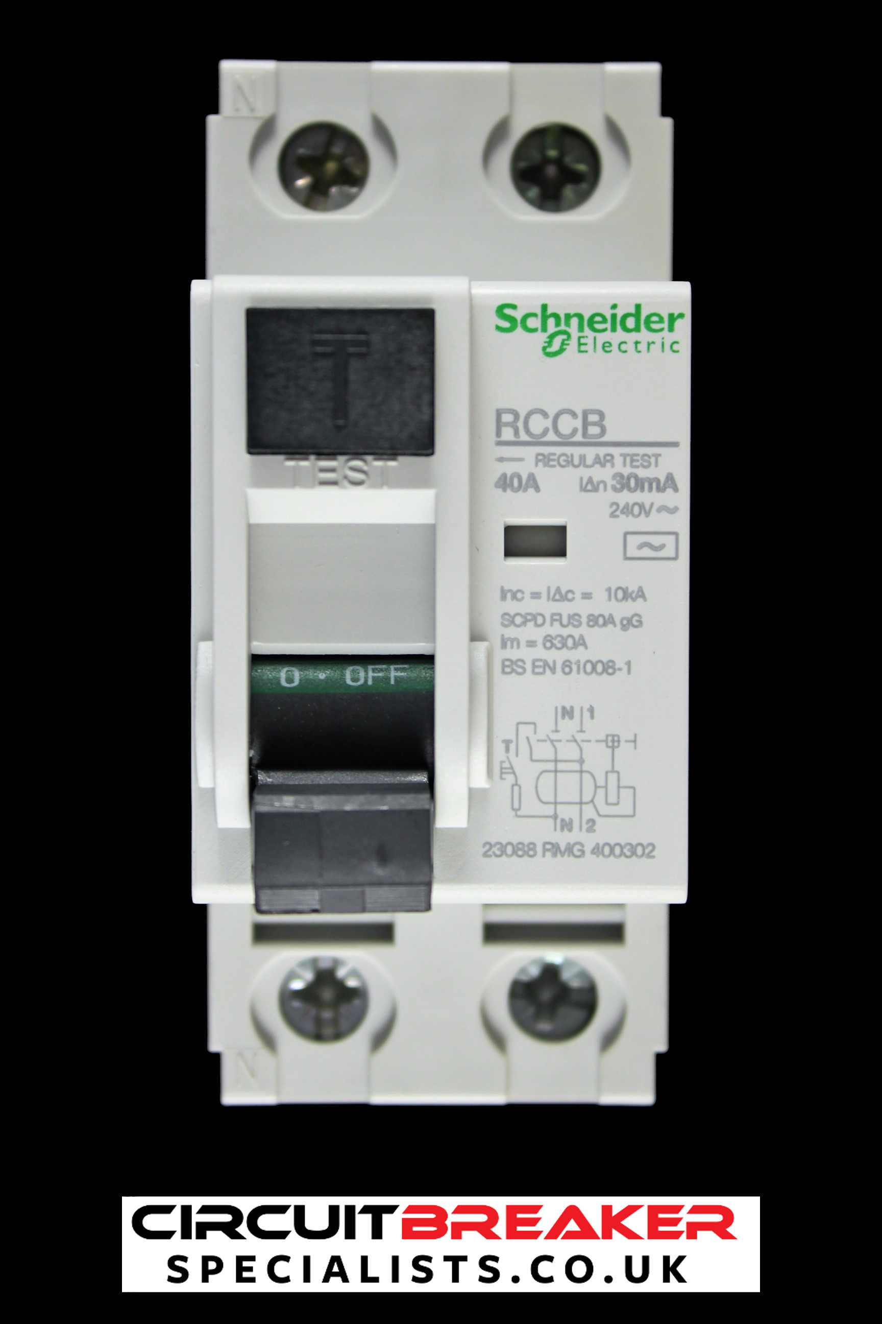 SCHNEIDER ELECTRIC 40 AMP 10kA 30mA DOUBLE POLE RCCB RCD 23088 RMG 400302