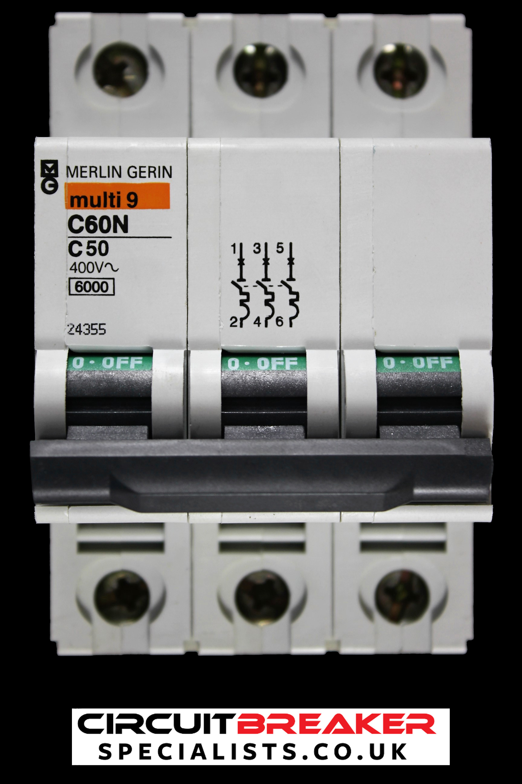 MERLIN 50 AMP TYPE C 6kA TRIPLE POLE MCB CIRCUIT BREAKER MULTI9 C60N 24355