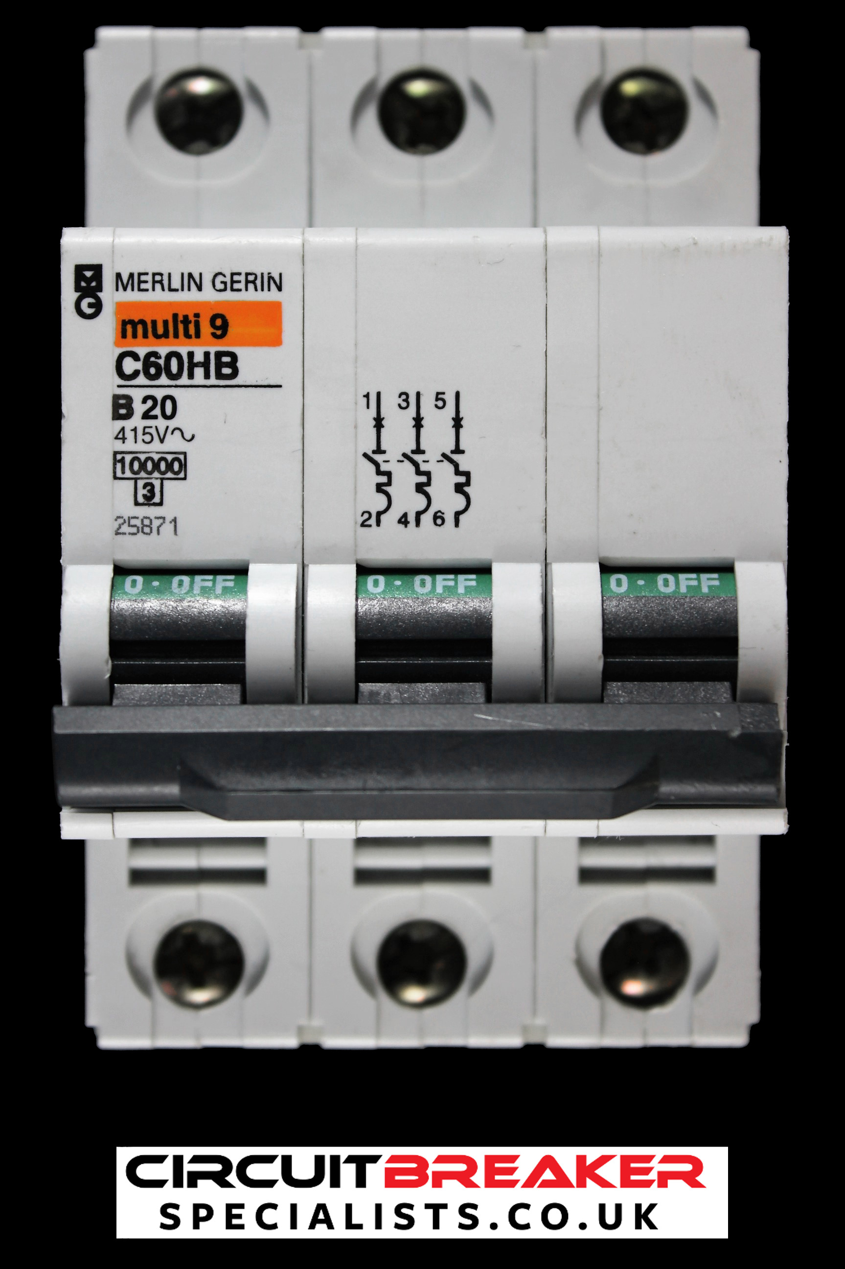 MERLIN GERIN 20 AMP TYPE B 10kA TRIPLE POLE MCB CIRCUIT BREAKER C60HB 25871