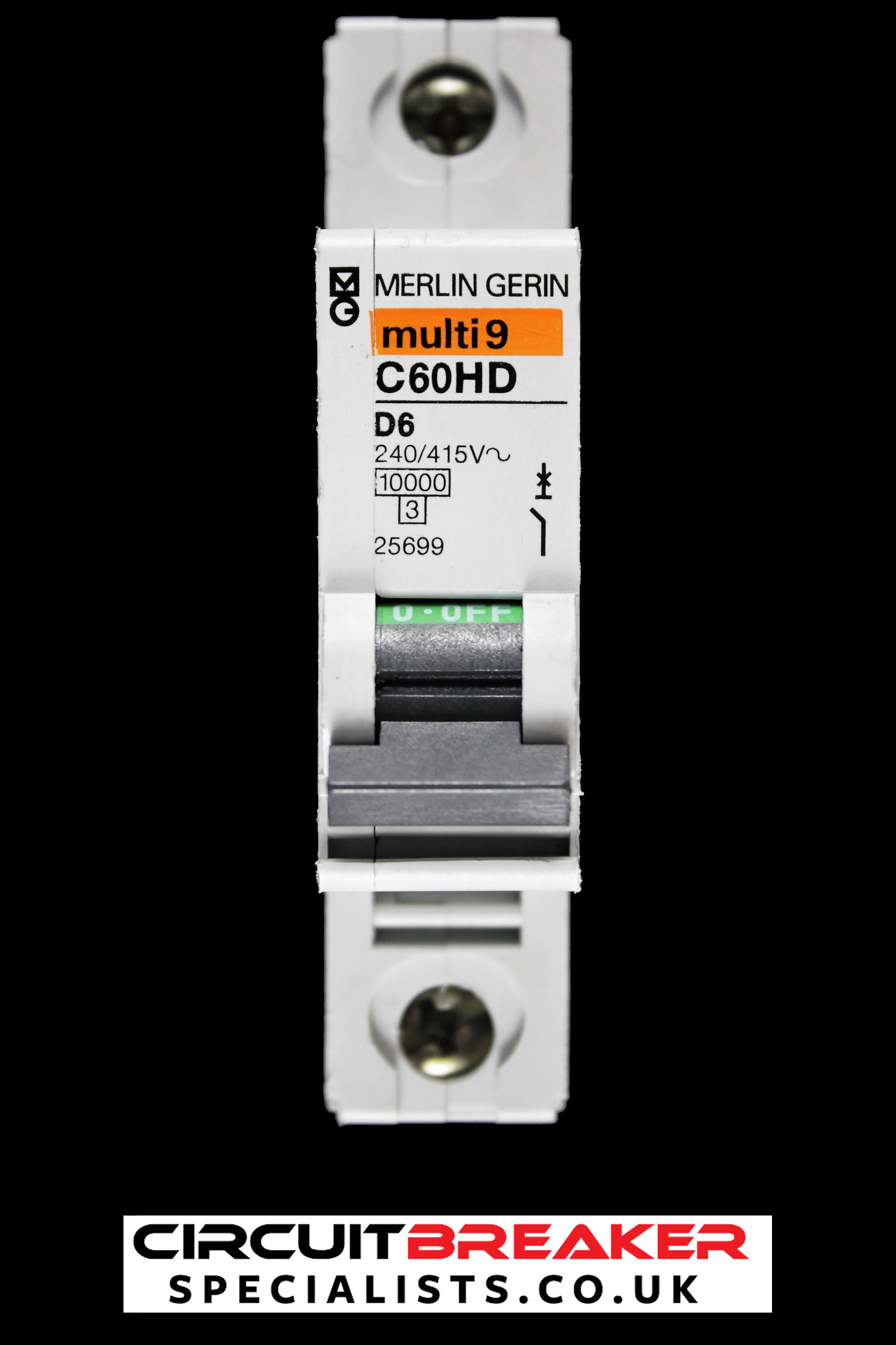 MERLIN GERIN 6 AMP TYPE D 10 kA MCB CIRCUIT BREAKER 25699 C60HD