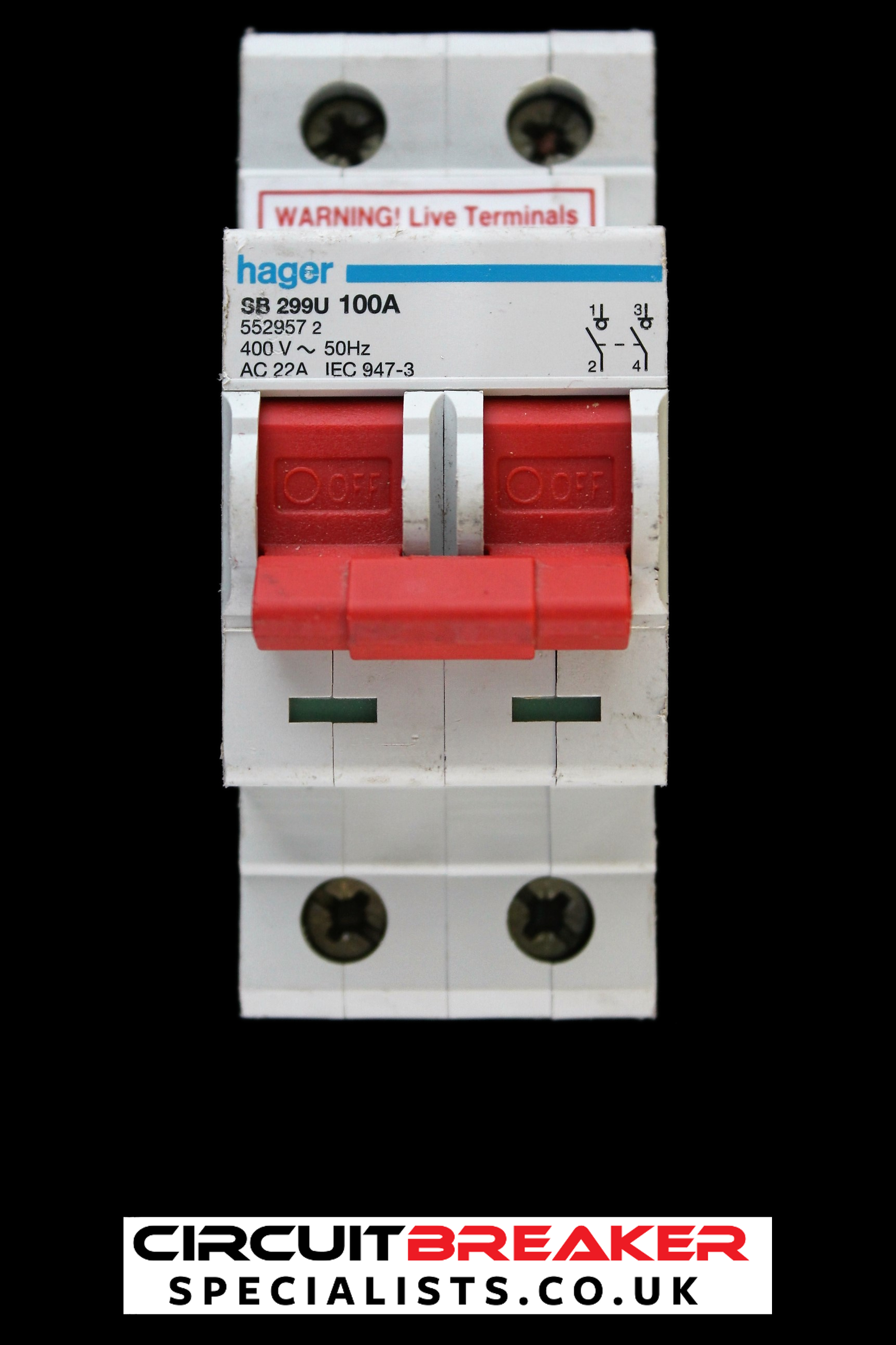 HAGER 100 AMP DOUBLE POLE MAIN SWITCH DISCONNECTOR SB299U 552957