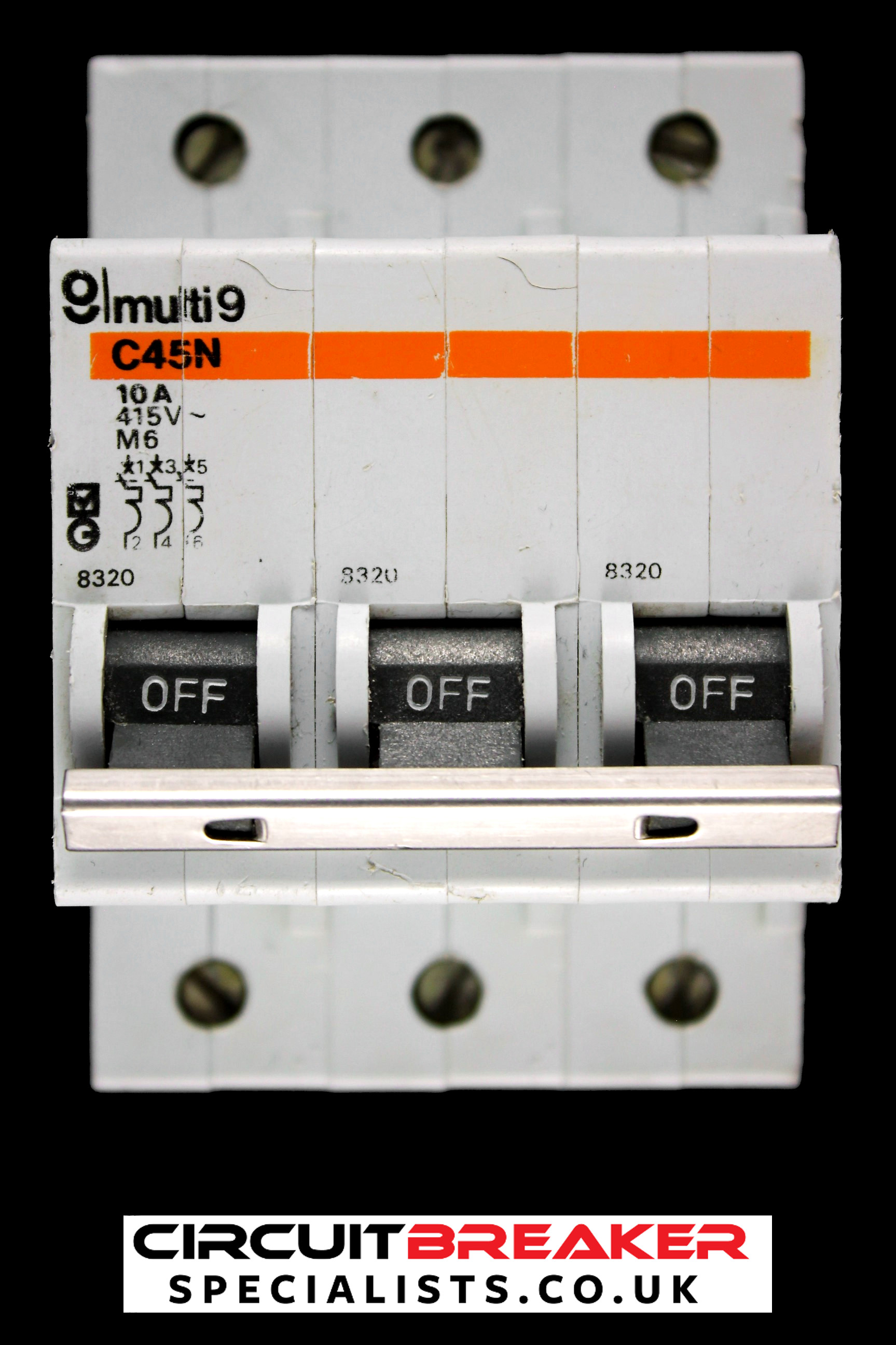 MERLIN GERIN 10 AMP TYPE 2 M6 TRIPLE POLE MCB CIRCUIT BREAKER 8320 C45N