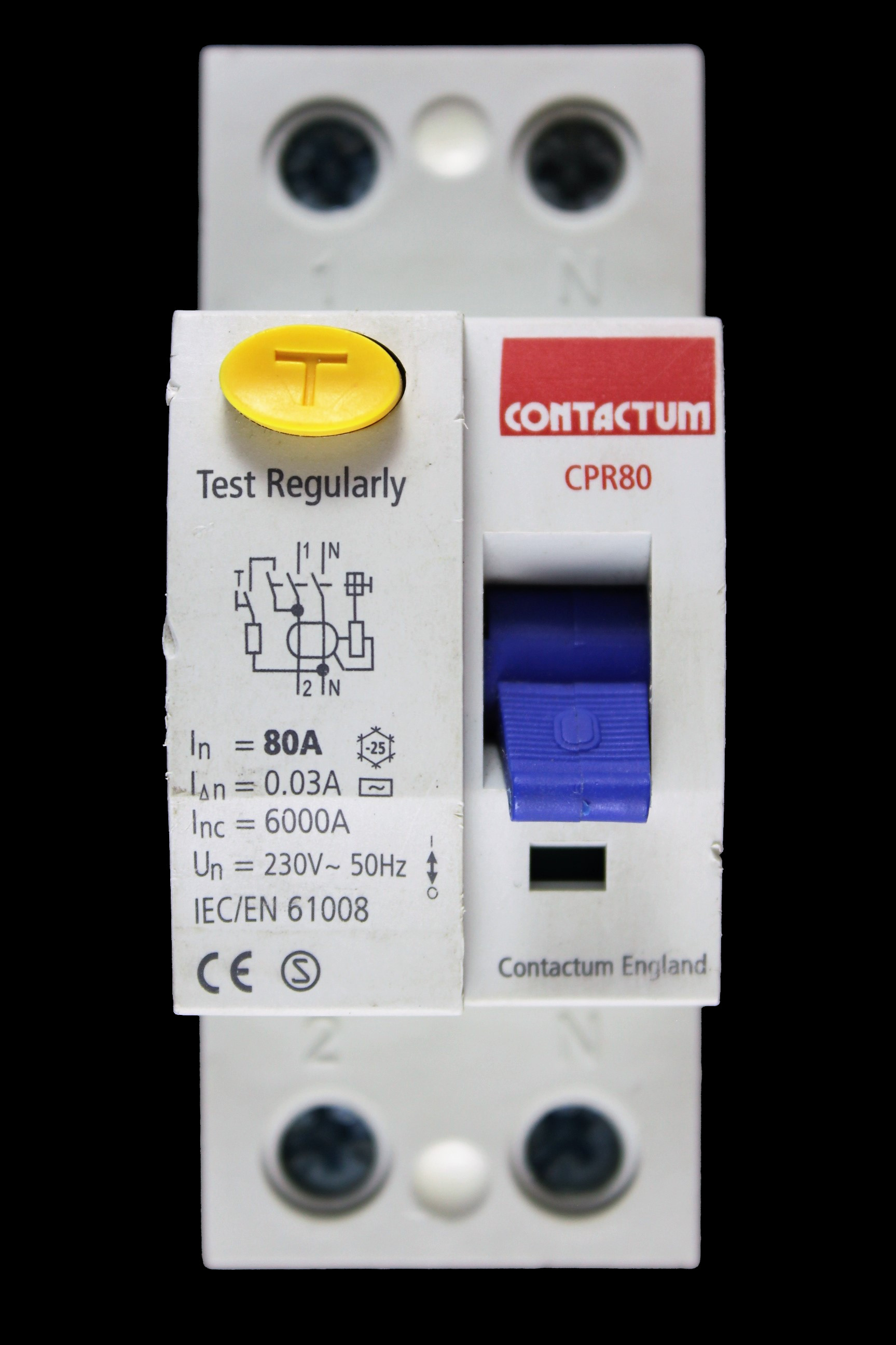 CONTACTUM 80 AMP 30mA DOUBLE POLE RCCB RCD CPR80