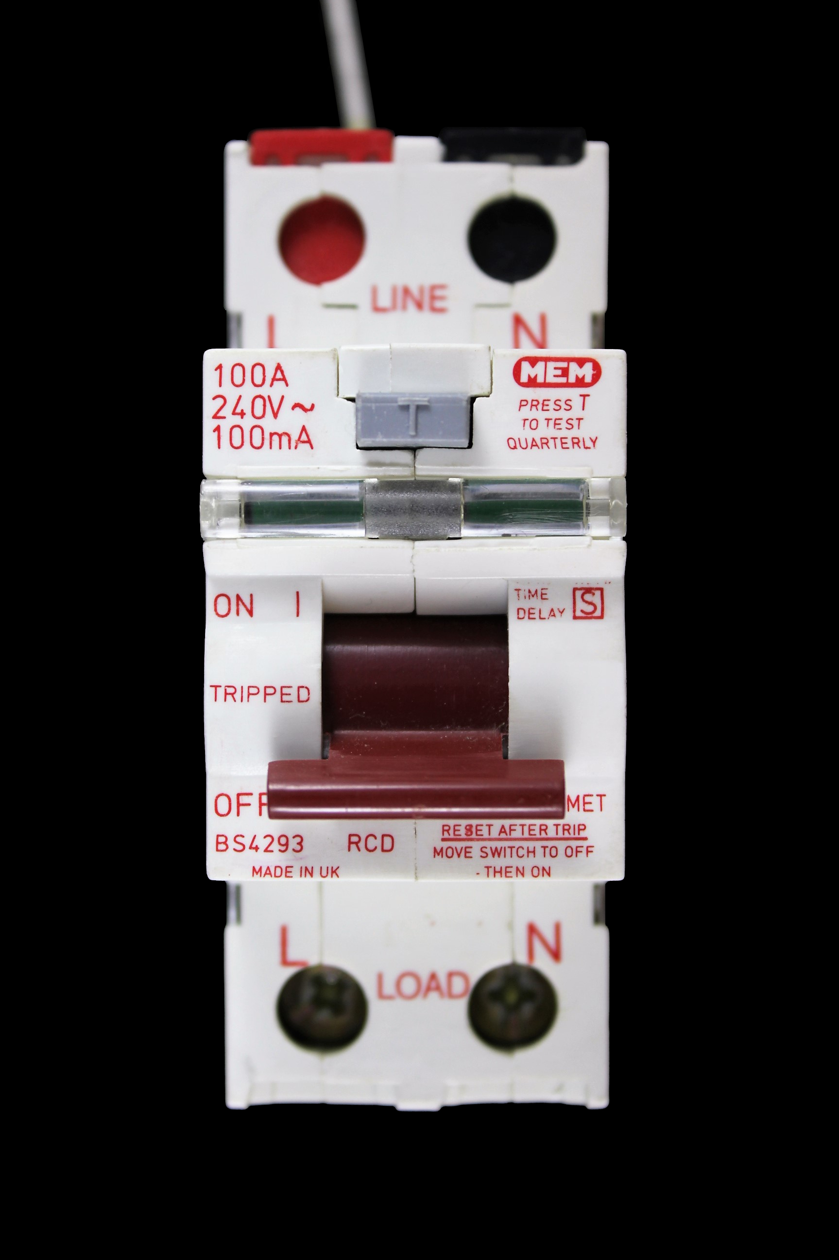 MEM 100 AMP 100mA DOUBLE POLE TIME DELAYED RCD A100MET