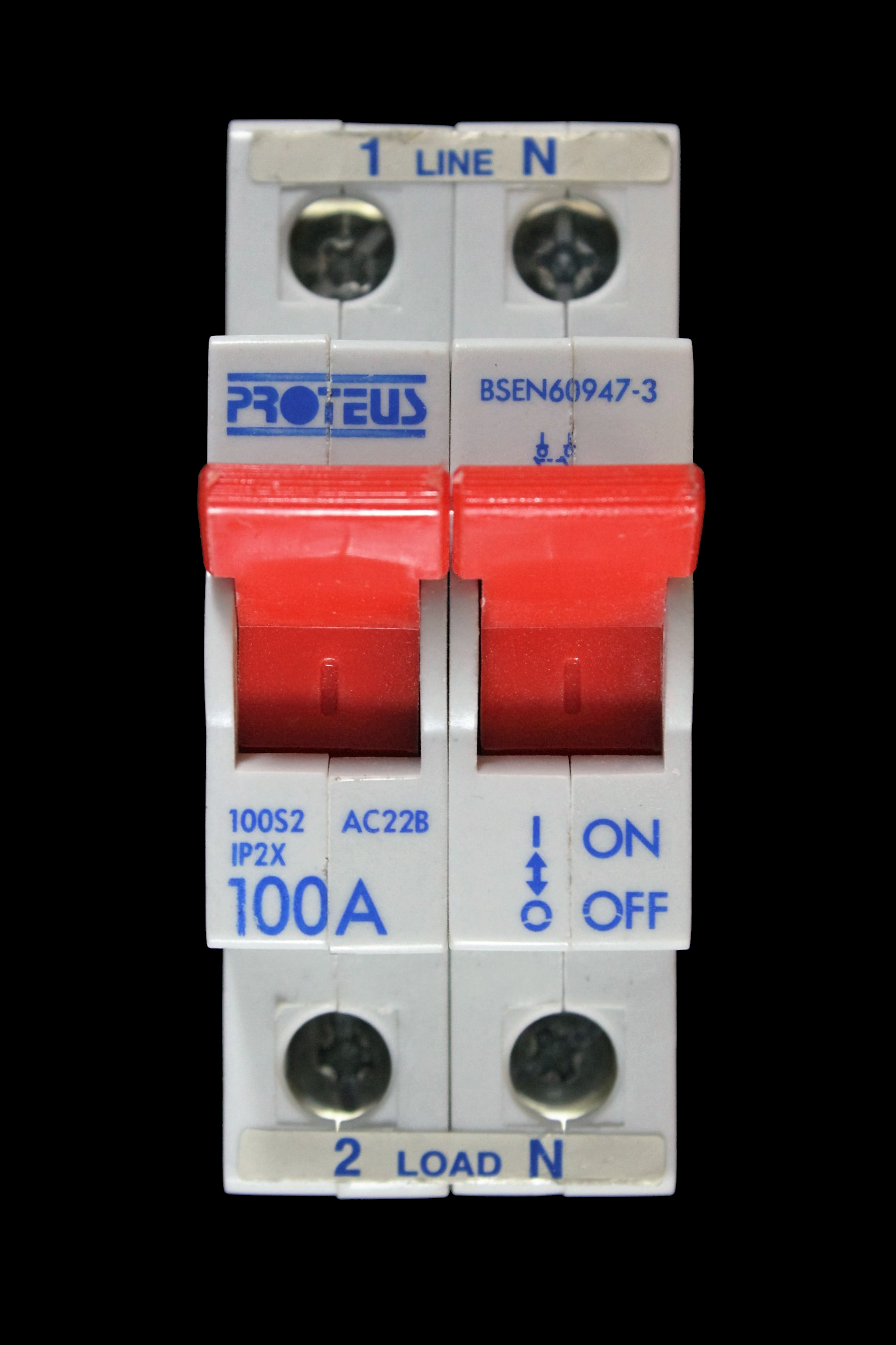 PROTEUS 100 AMP DOUBLE POLE MAIN SWITCH DISCONNECTOR 100S2 AC22B