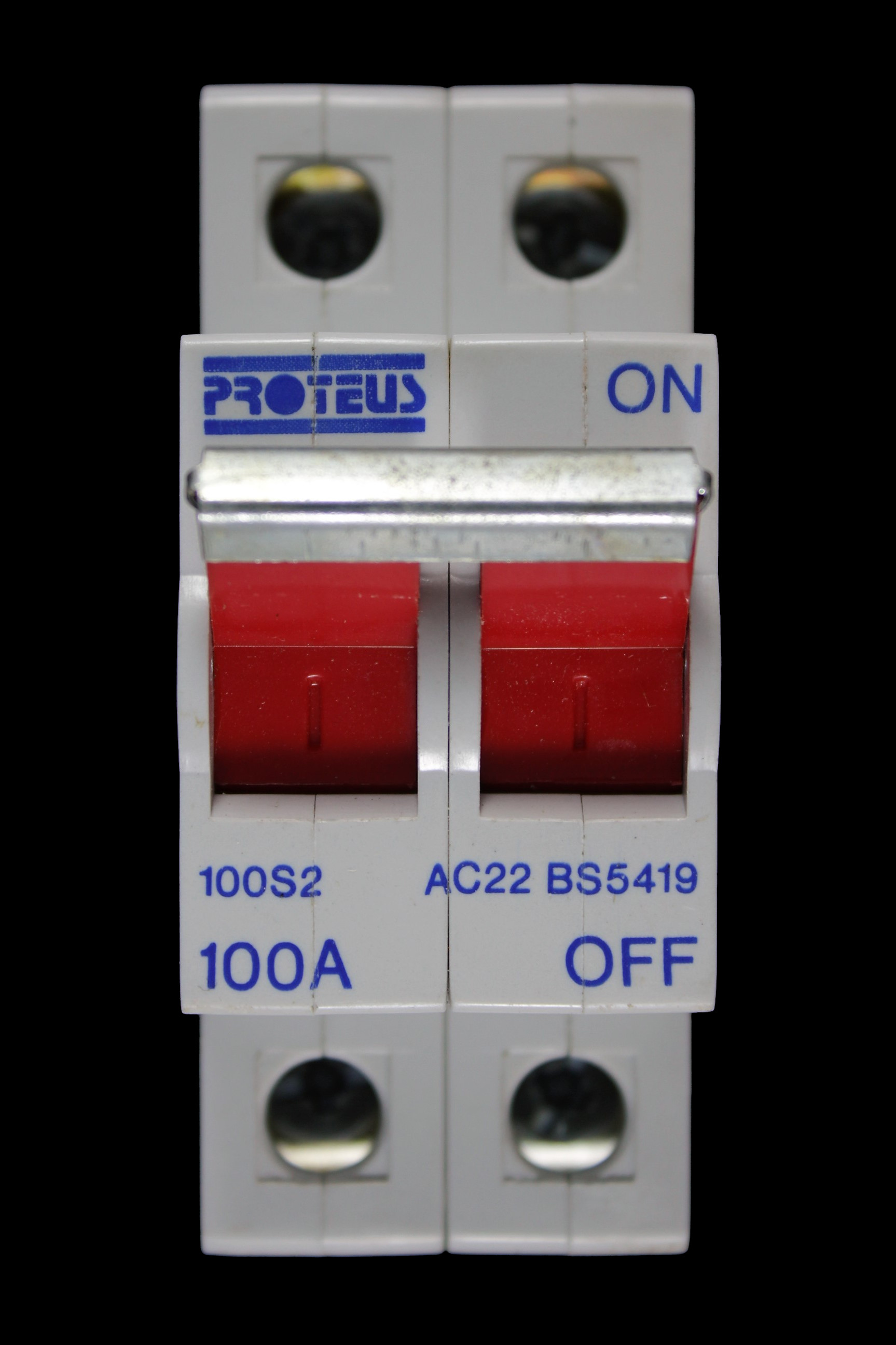 PROTEUS 100 AMP DOUBLE POLE MAIN SWITCH DISCONNECTOR 100S2 AC22