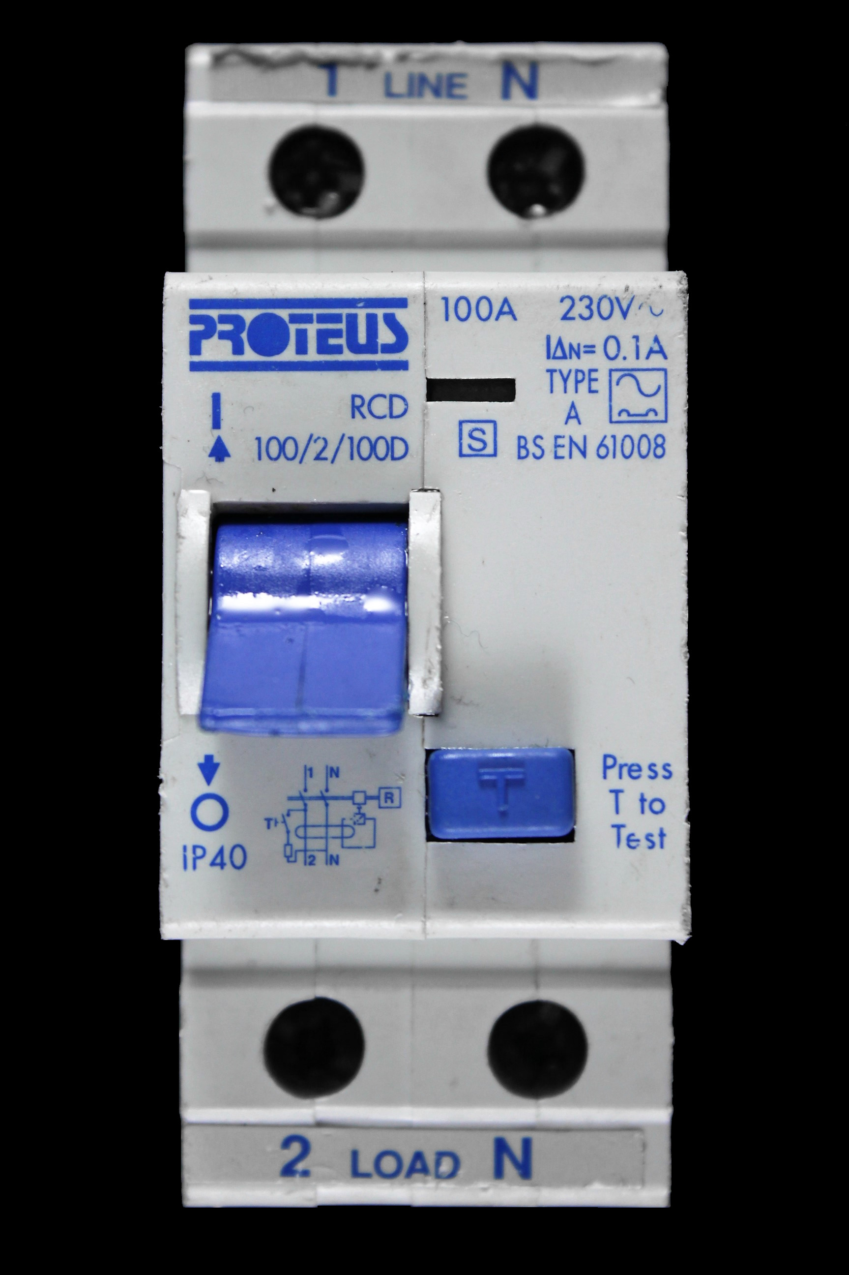 PROTEUS 100 AMP 100mA DOUBLE POLE TIME DELAY RCD 100/2/100D