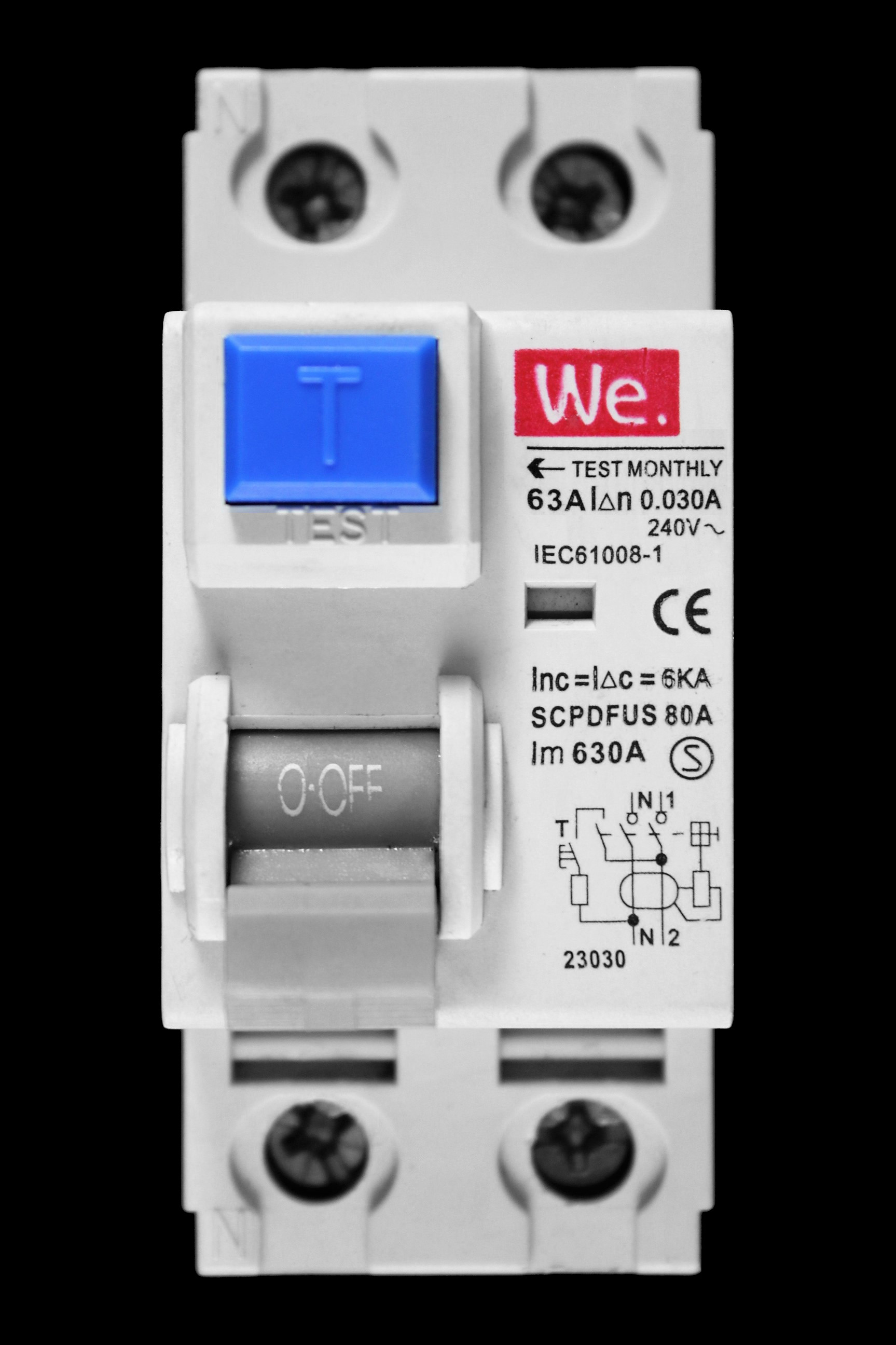 WE 63 AMP 30mA DOUBLE POLE RCD 23030 SCPDFUS