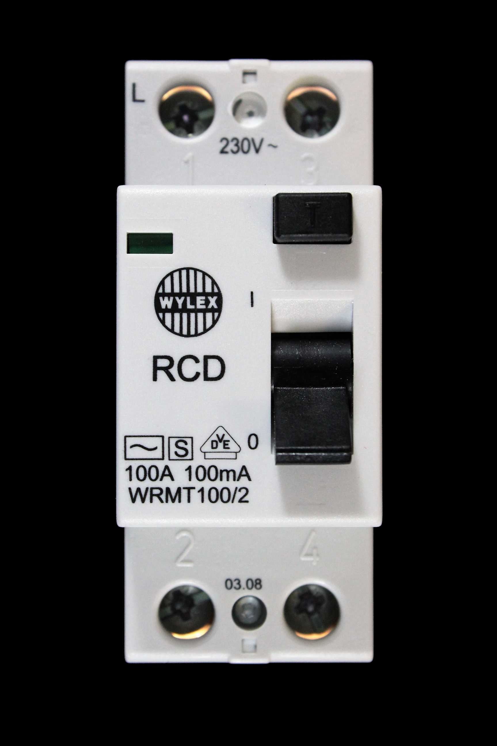 WYLEX 100 AMP 100mA DOUBLE POLE TIME DELAY RCD WRMT100/2