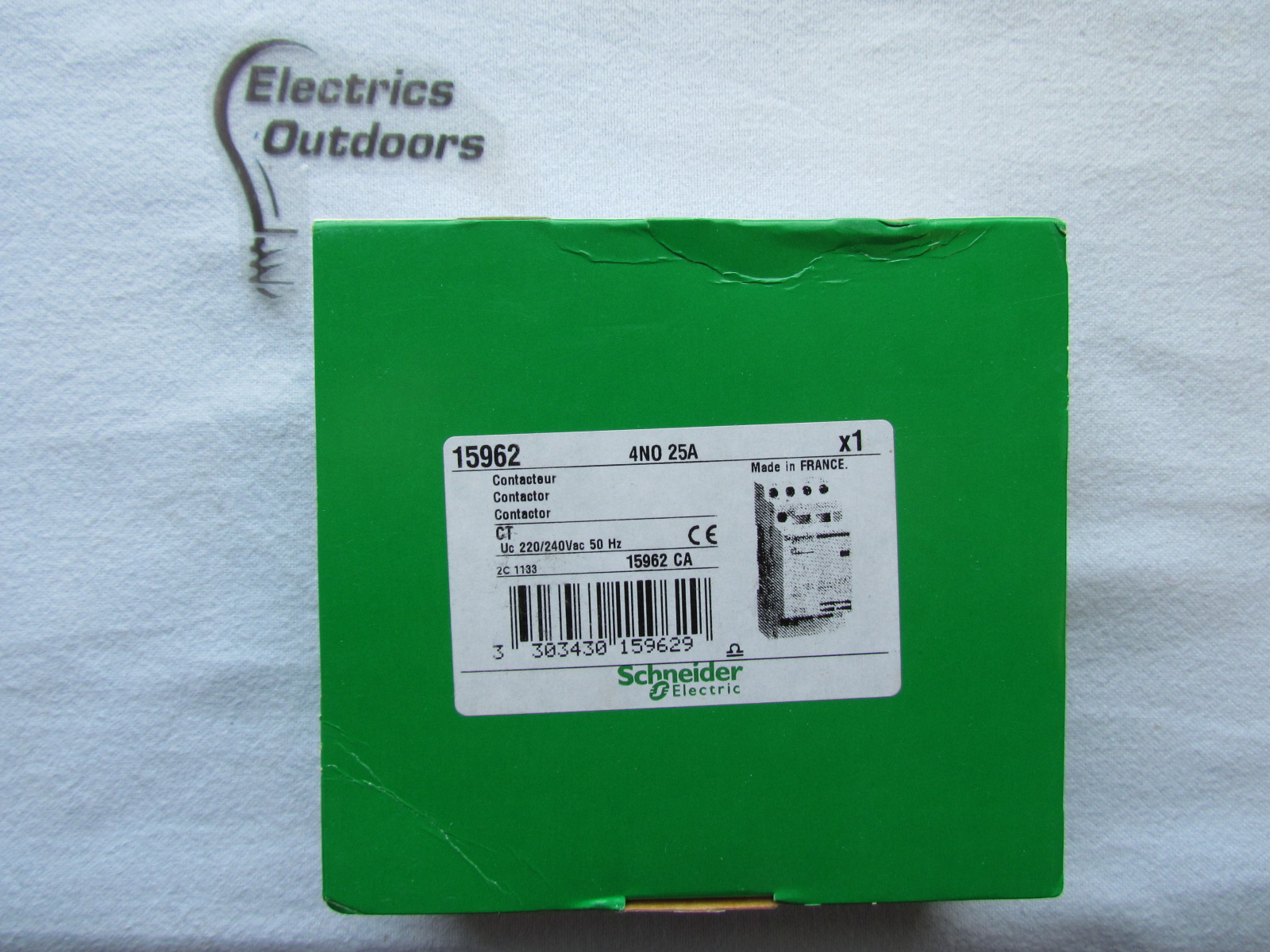 SCHNEIDER ELECTRIC CONTACTOR 25 AMP 4 POLE NO CT 15962
